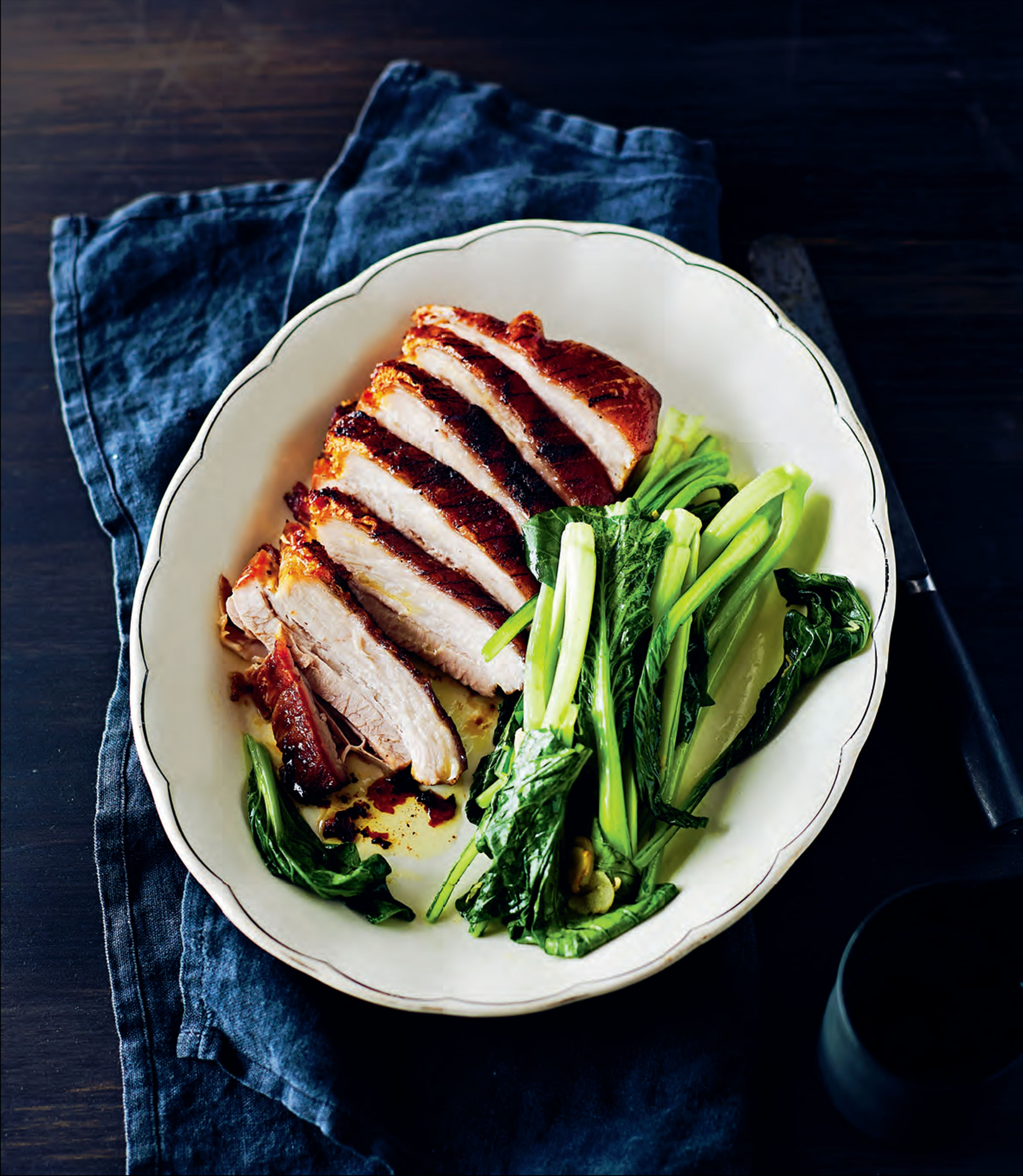 Slow-cooked five-spice pork belly with chinese broccoli