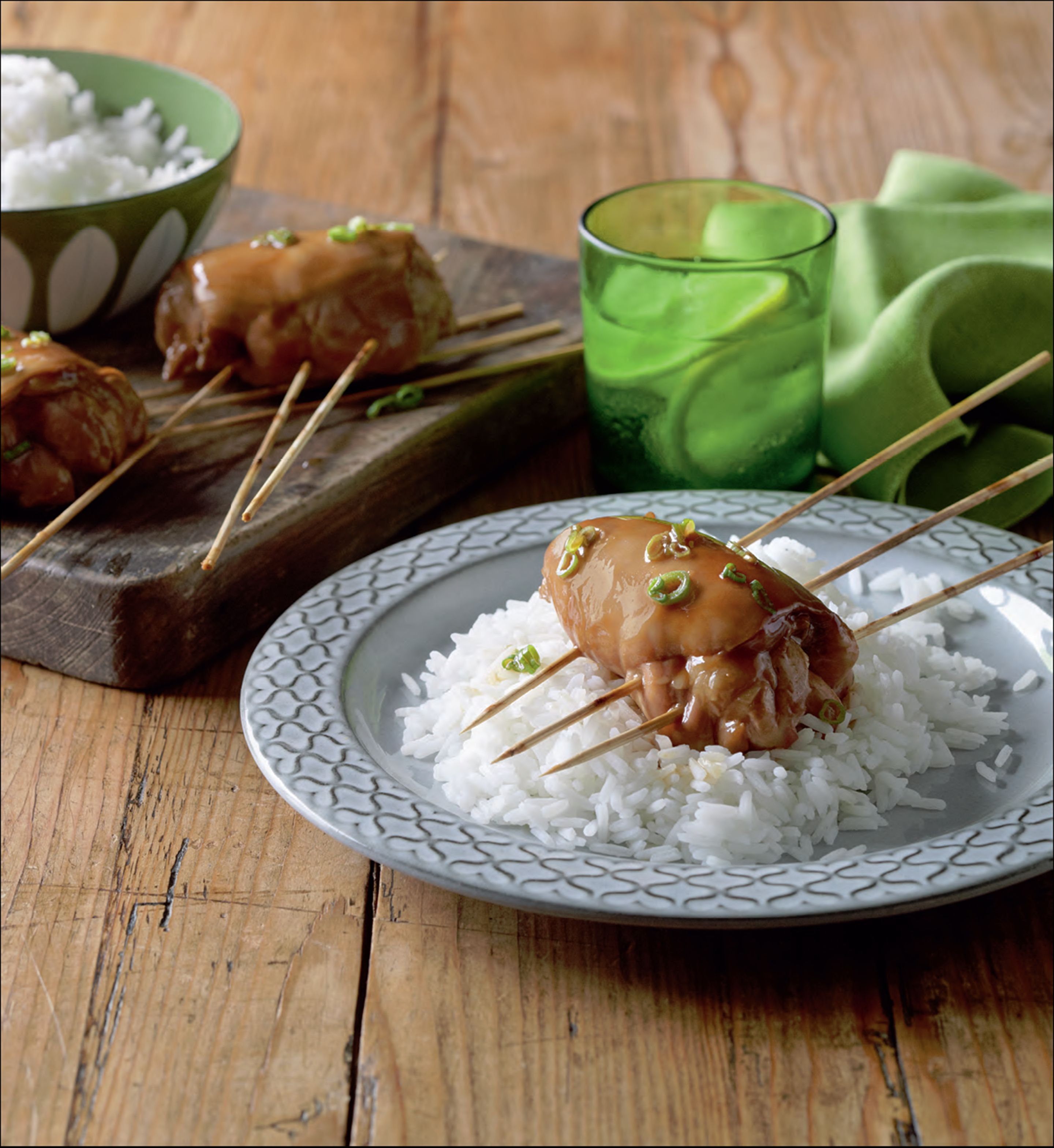 Chicken skewers with sake and soy