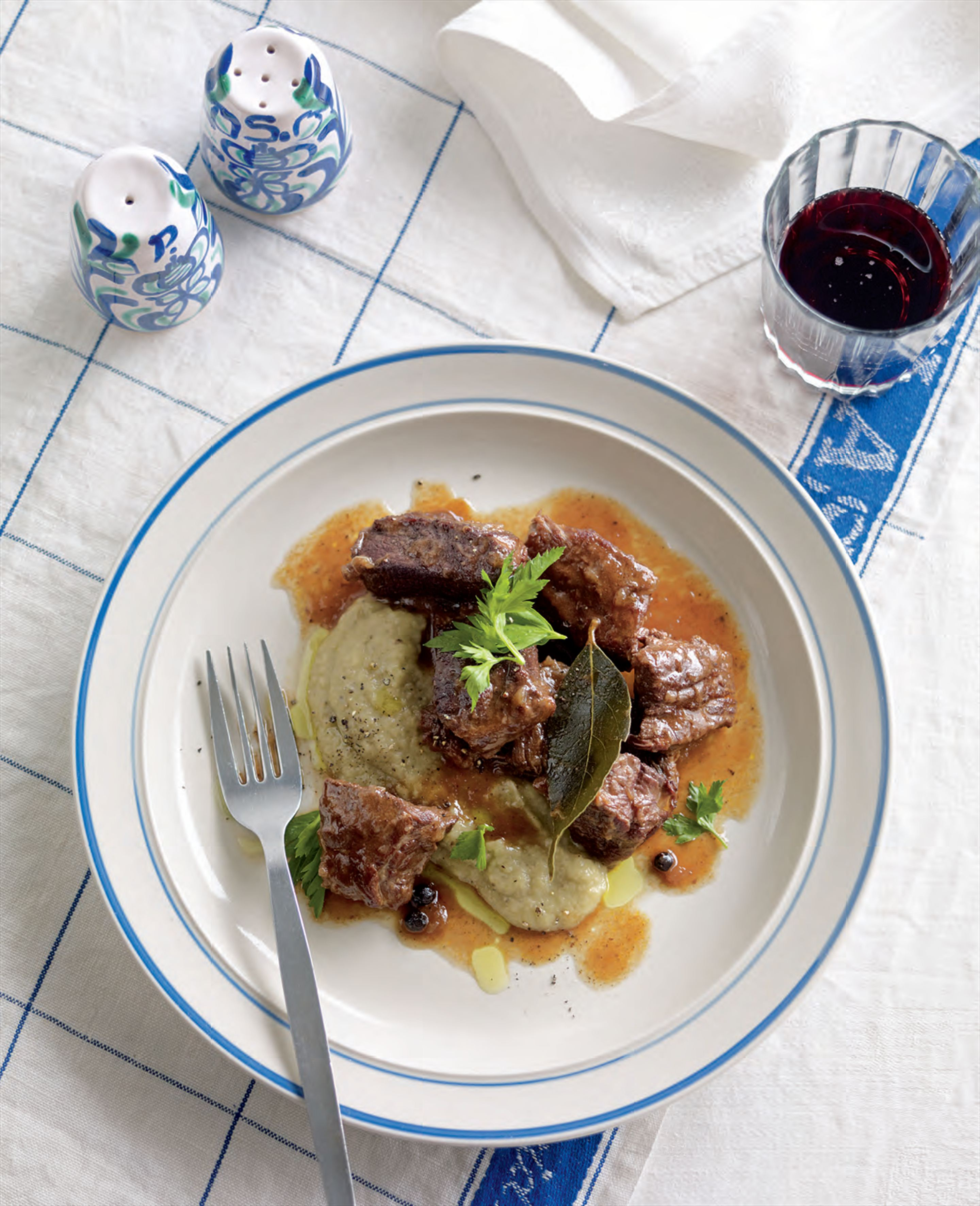 Braised veal with eggplant purée