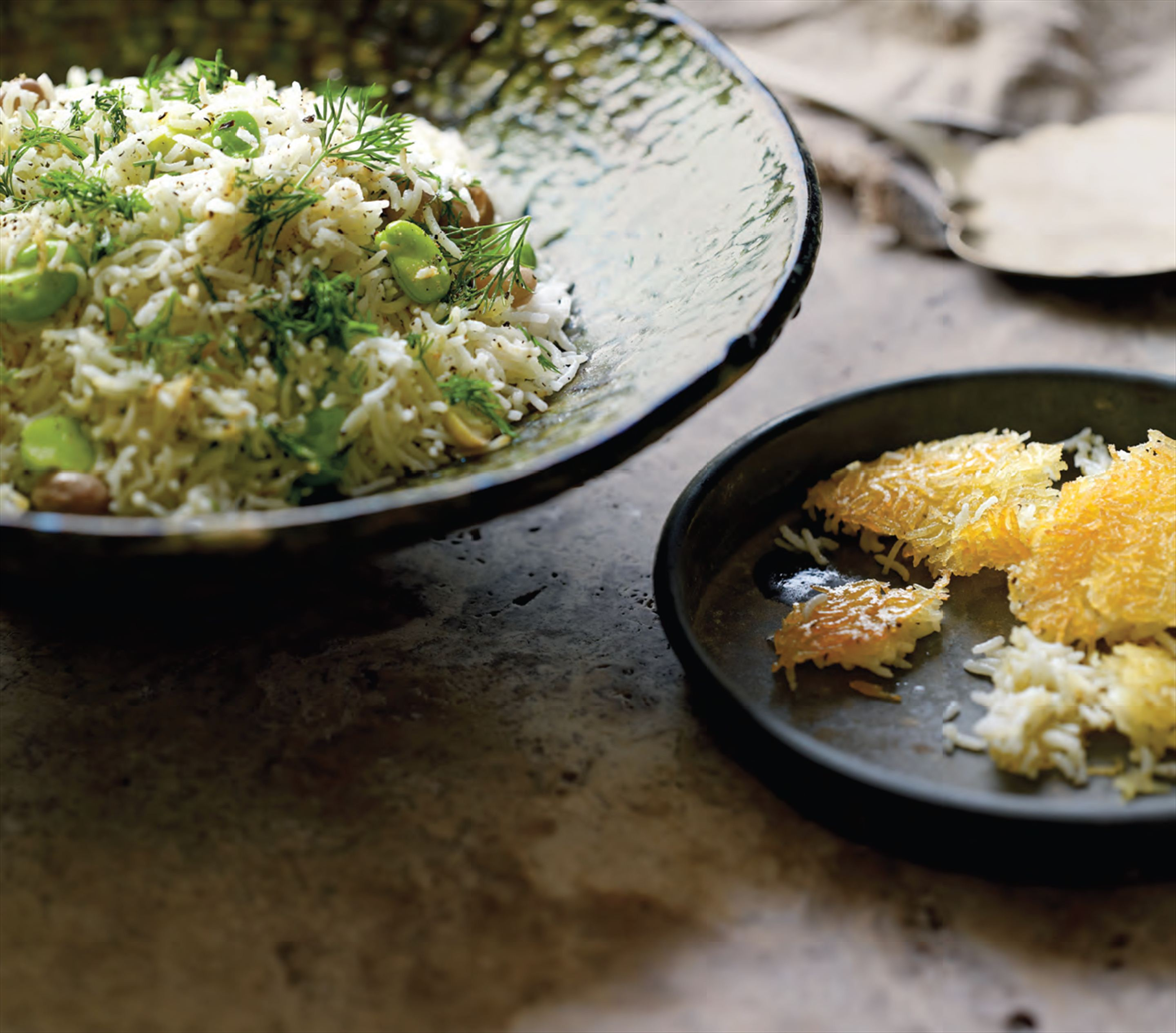 Broad bean, borlotti and dill rice
