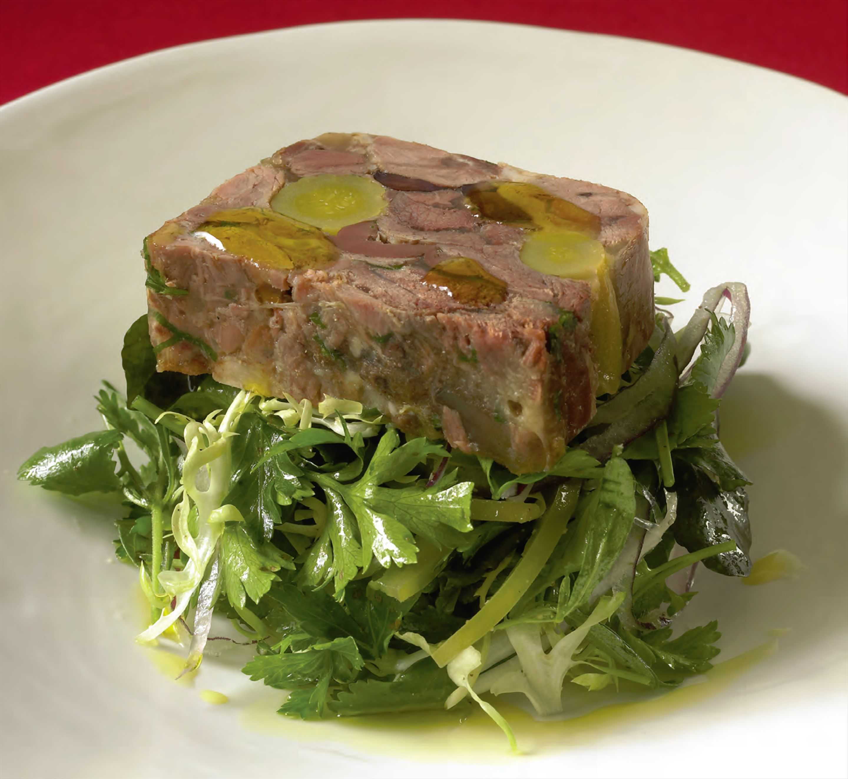 Hot-seared sticky lamb shank terrine with Middle Eastern spices