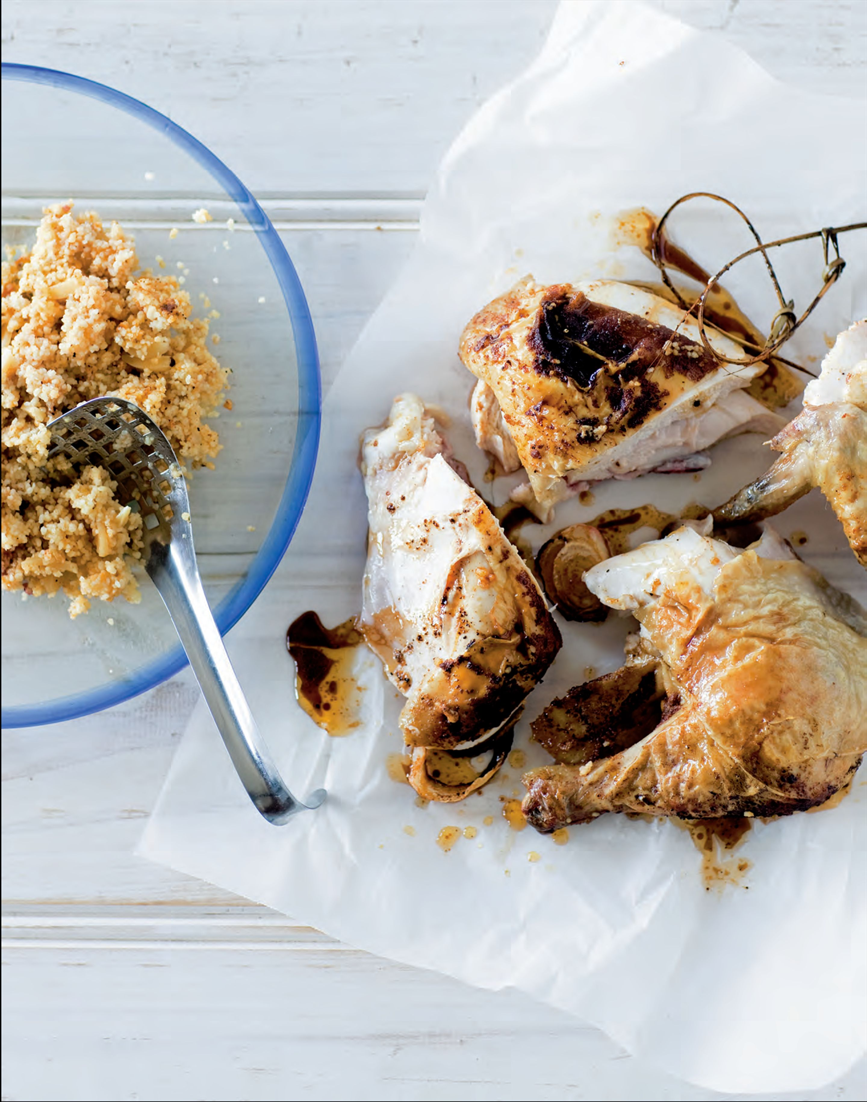 Roast chicken with preserved lemon stuffing