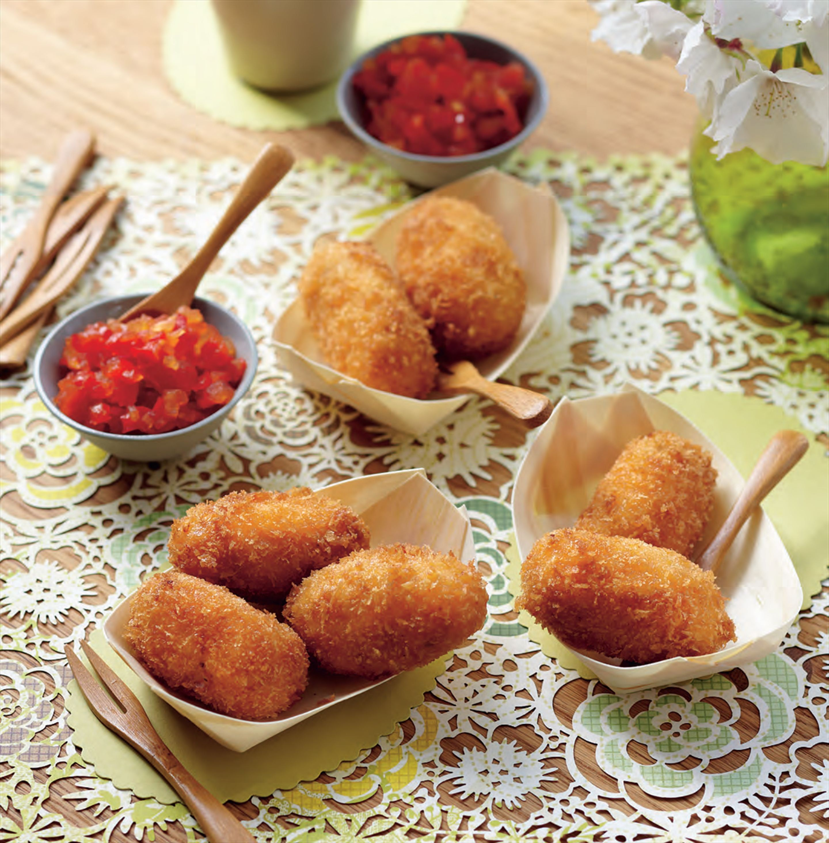 Manchego croquettes with sweet capsicum relish