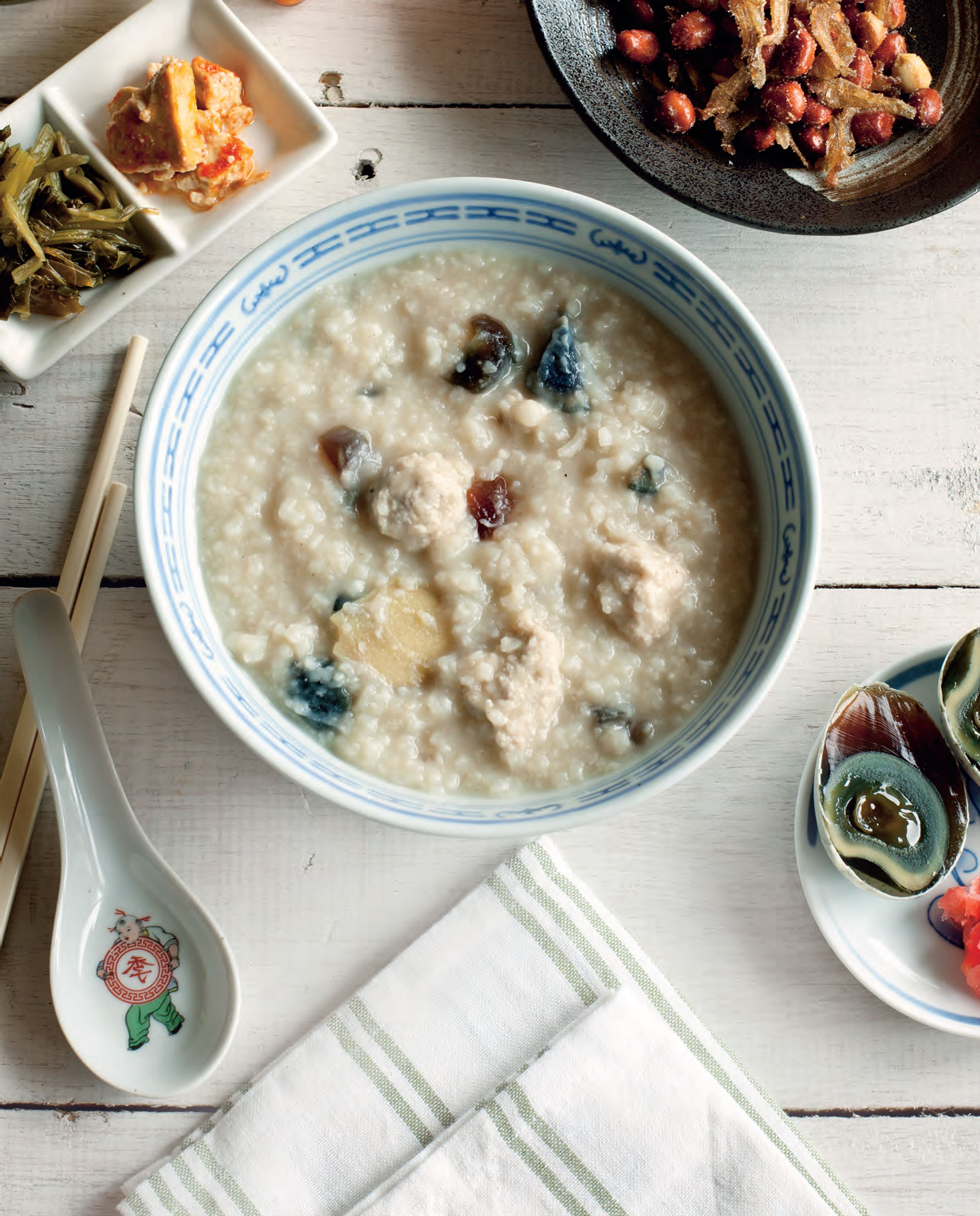 Pork mince balls and century eggs congee