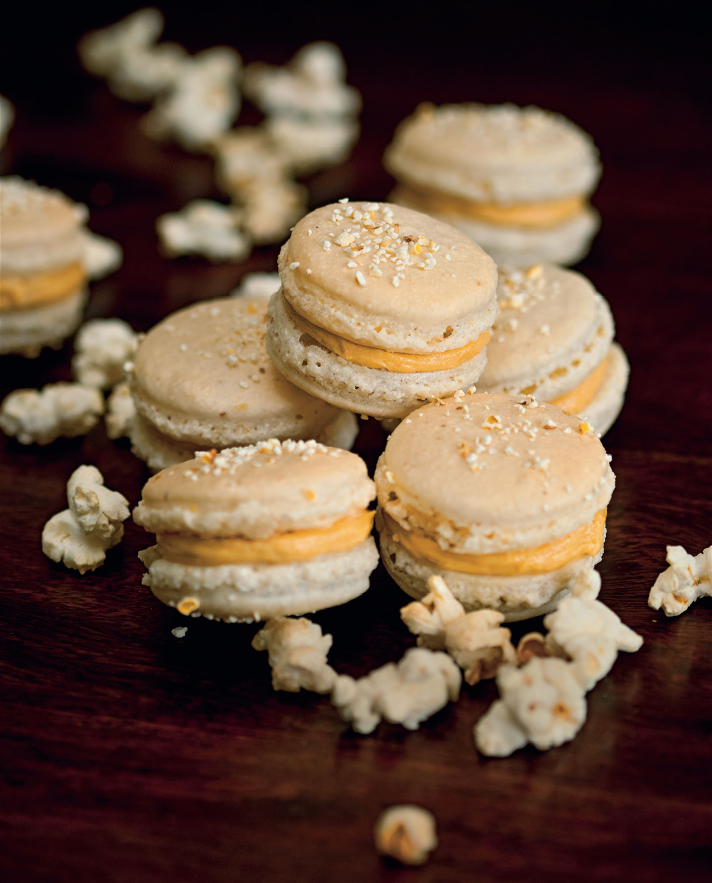 Popcorn and salted caramel macarons