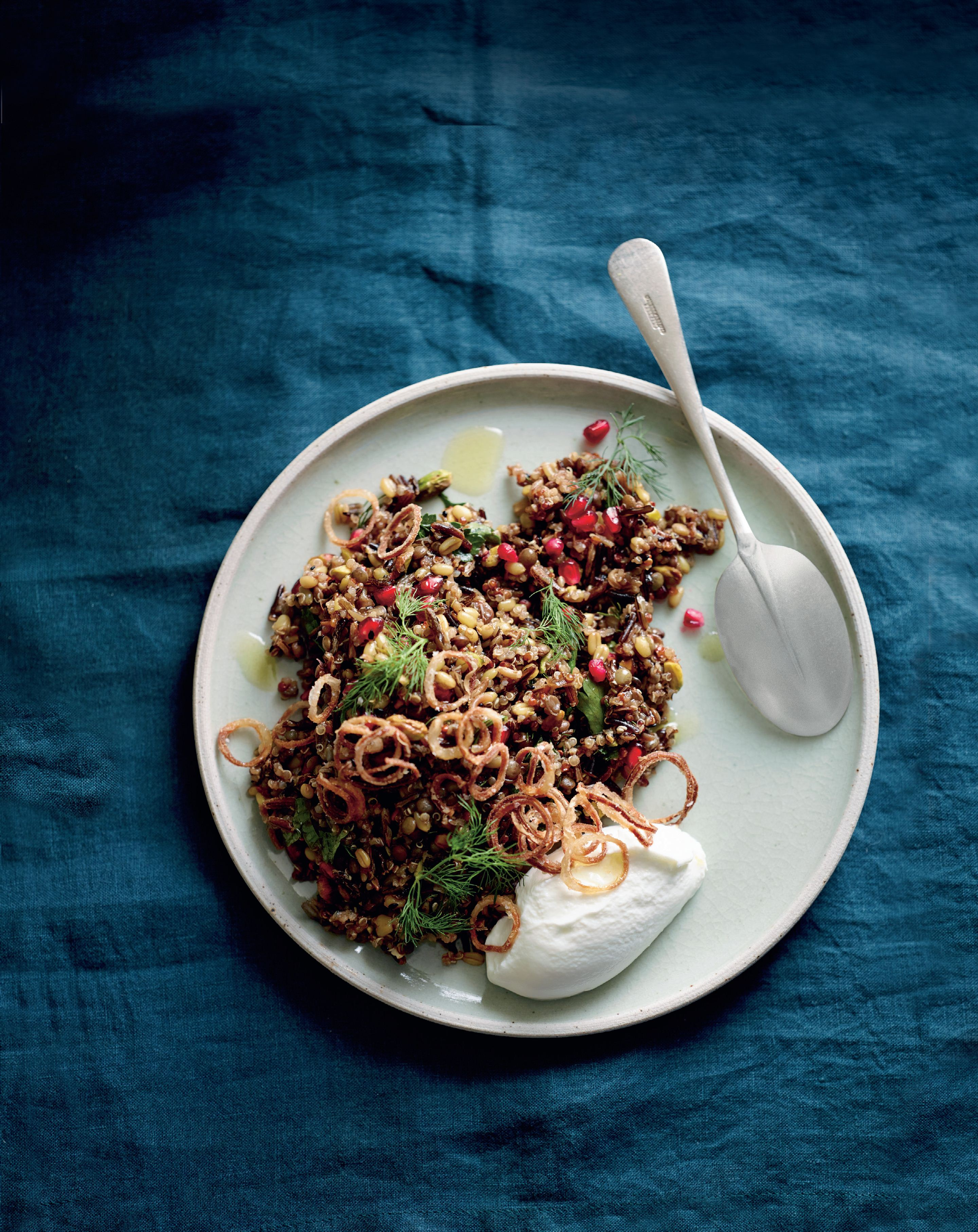 Ancient grain salad, goat's curd, pomegranate, crispy fried shallots