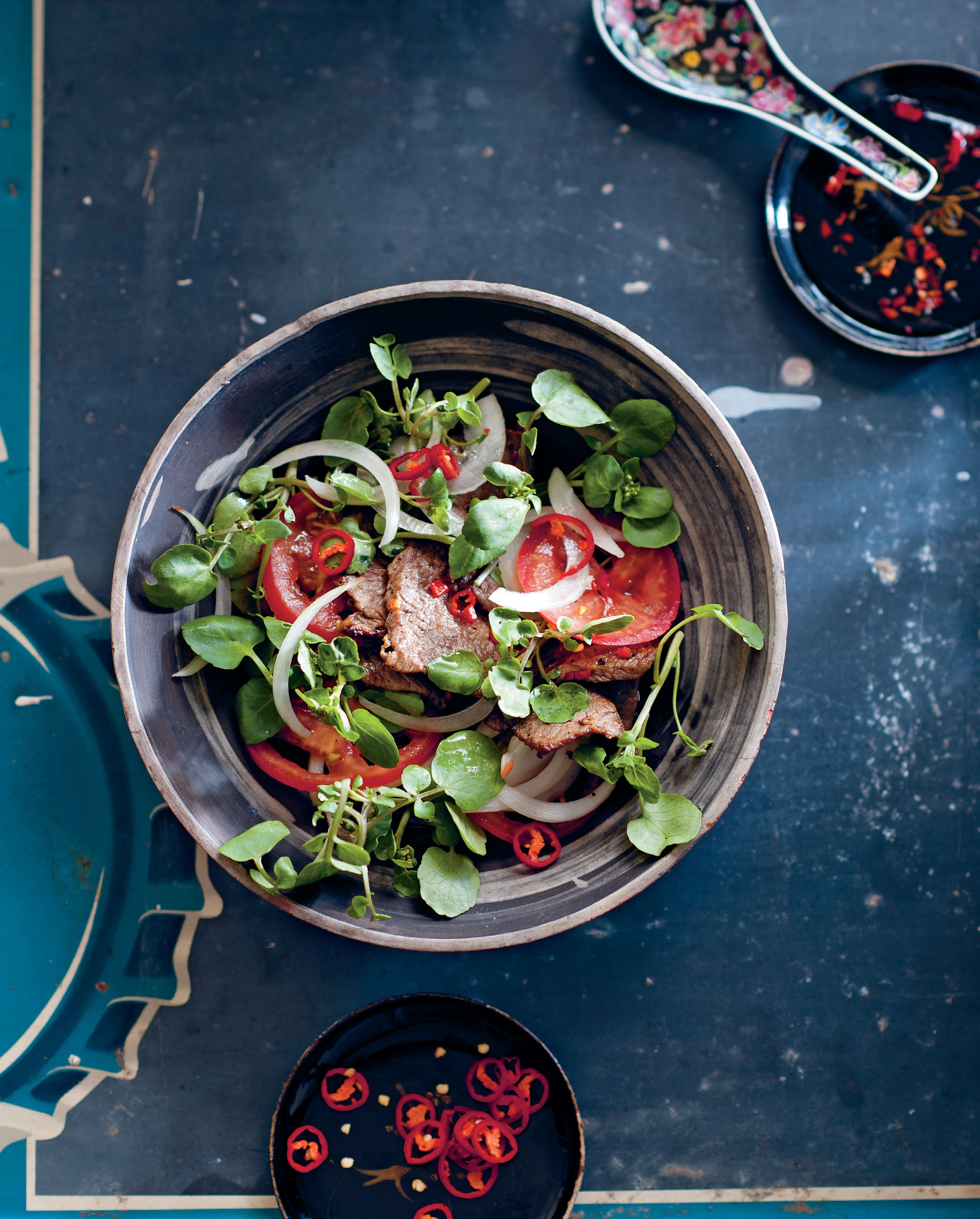 Warm beef and watercress salad