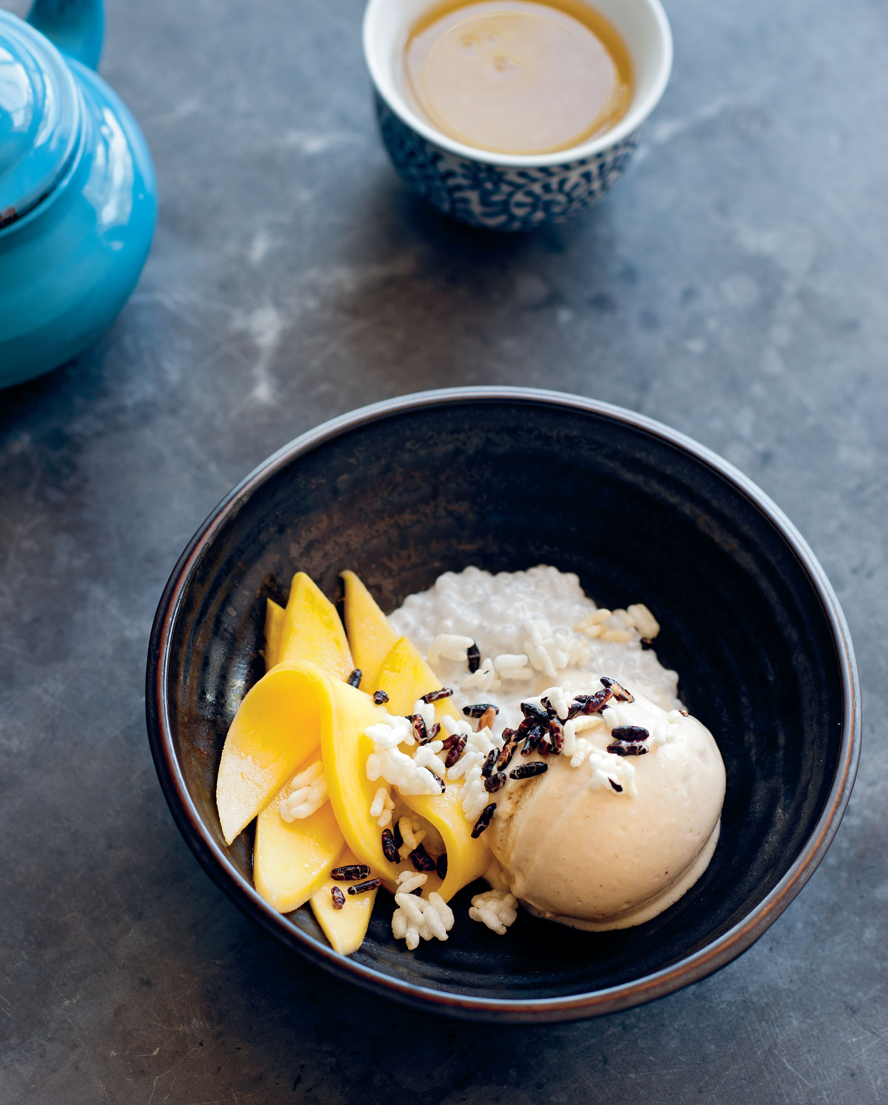 Coconut tapioca pearls with puffed sticky rice, mango and coconut tamarind ice cream