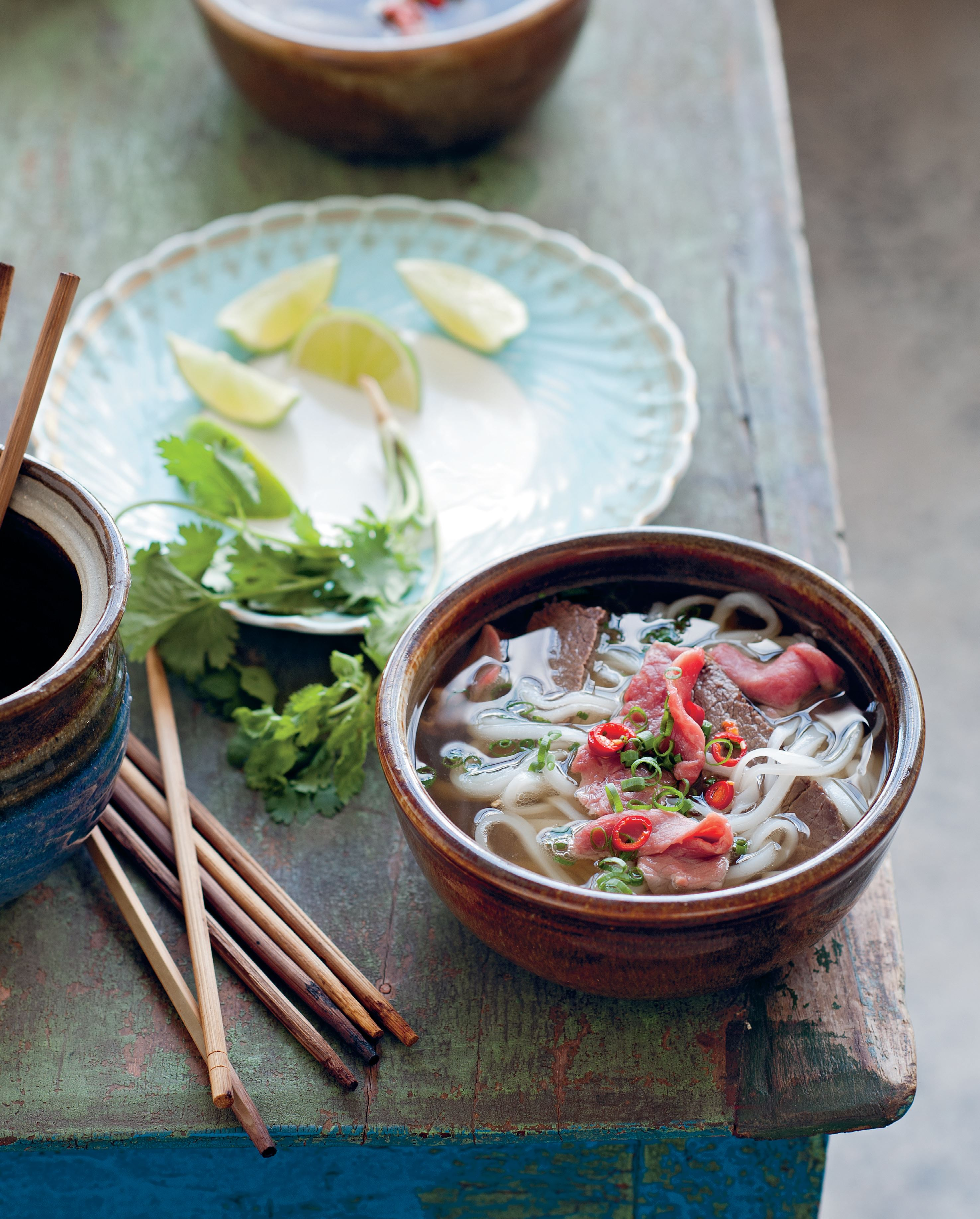 Beef noodle soup with rice noodles