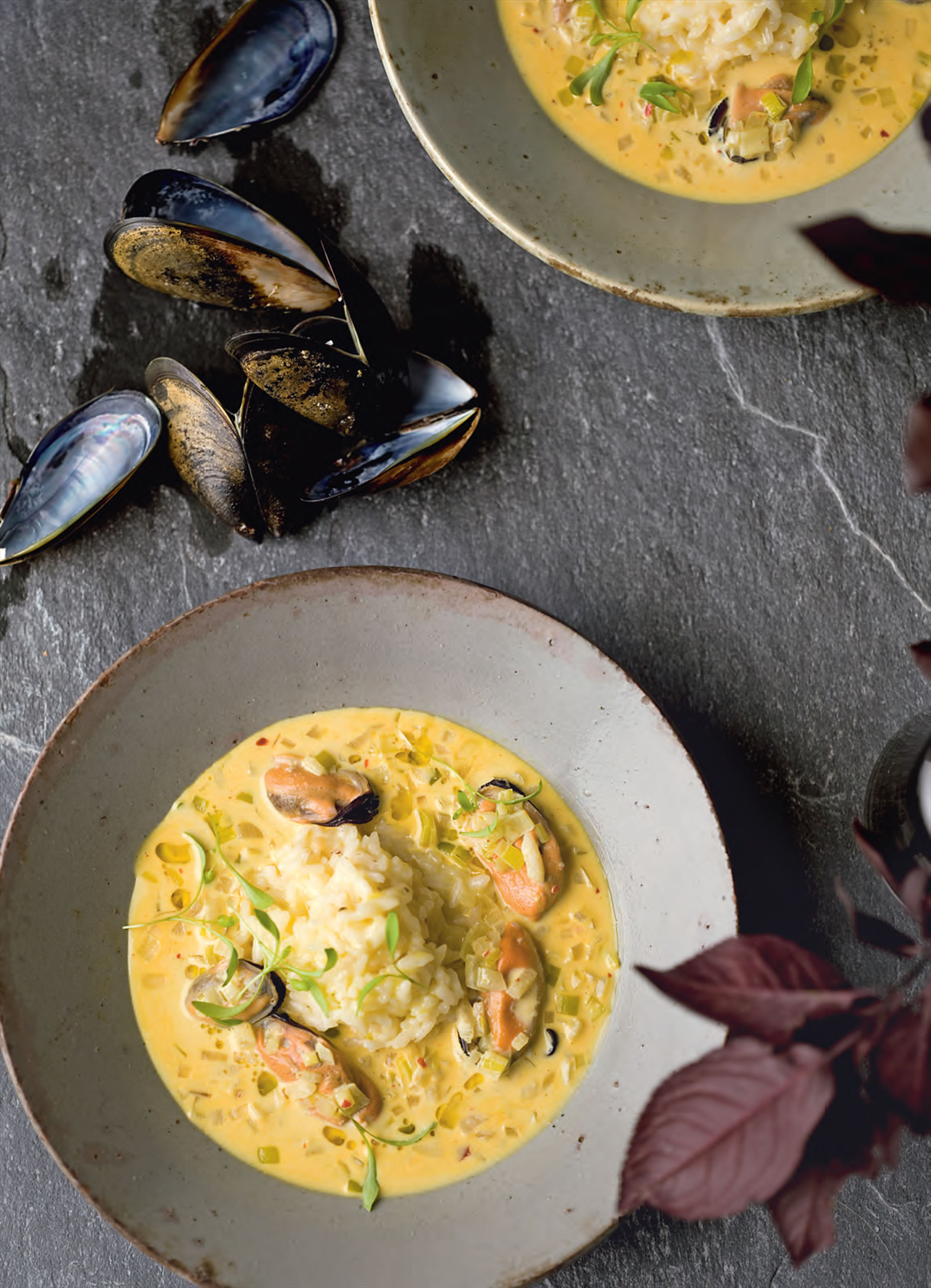 Mussel mulligatawny with preserved lemon risotto