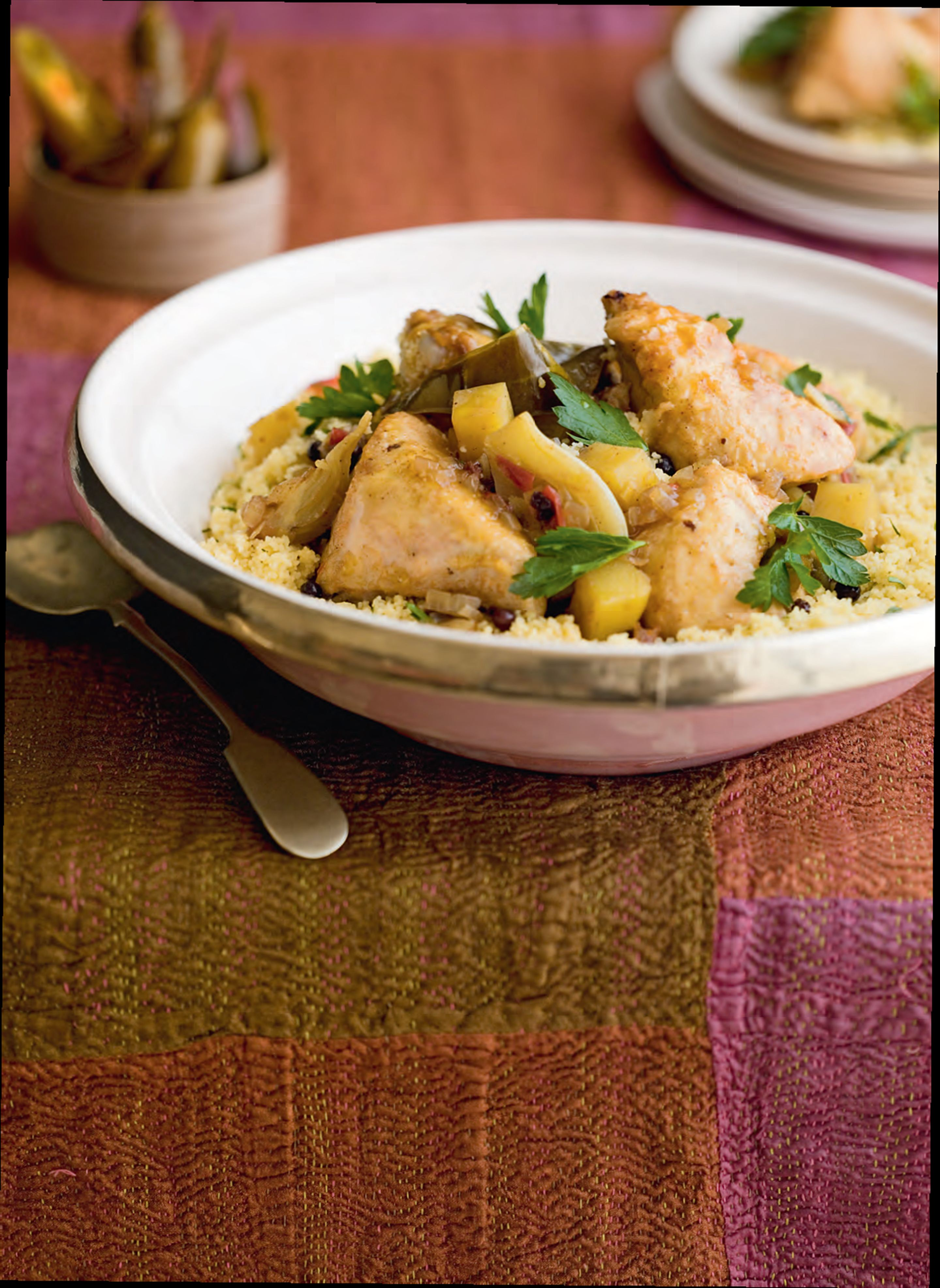 Chicken tagine with green herb couscous