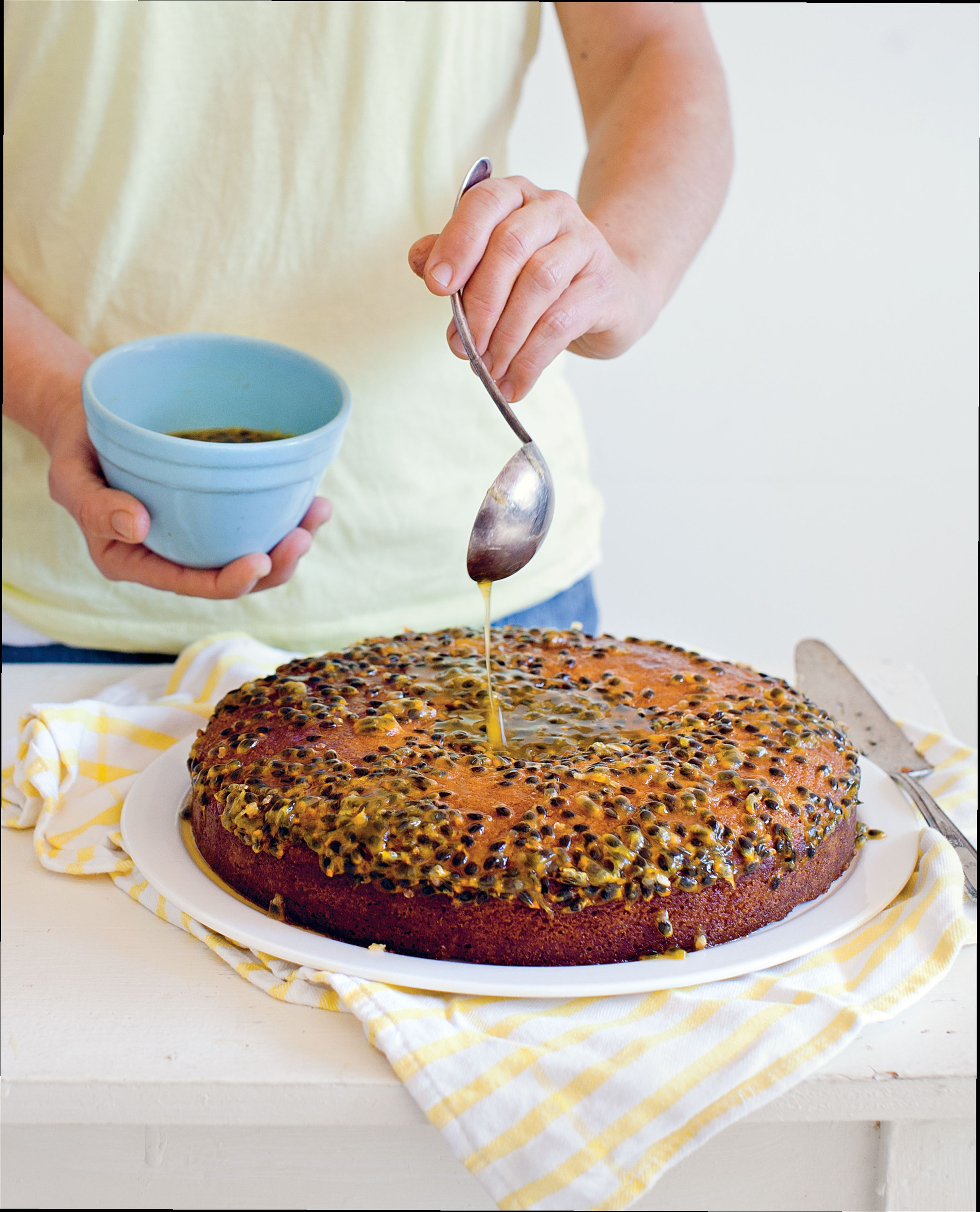 Passionfruit and polenta cake