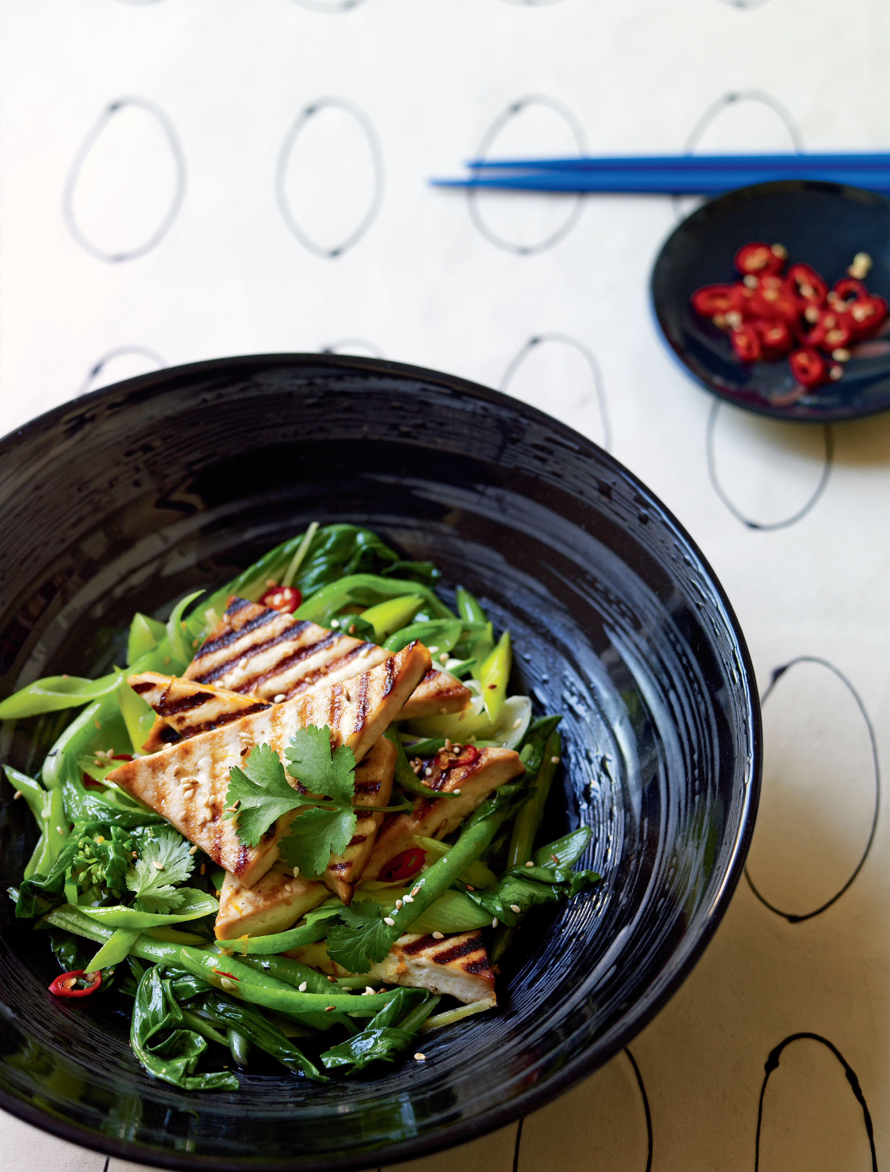 Chilli and orange grilled tofu with Asian greens