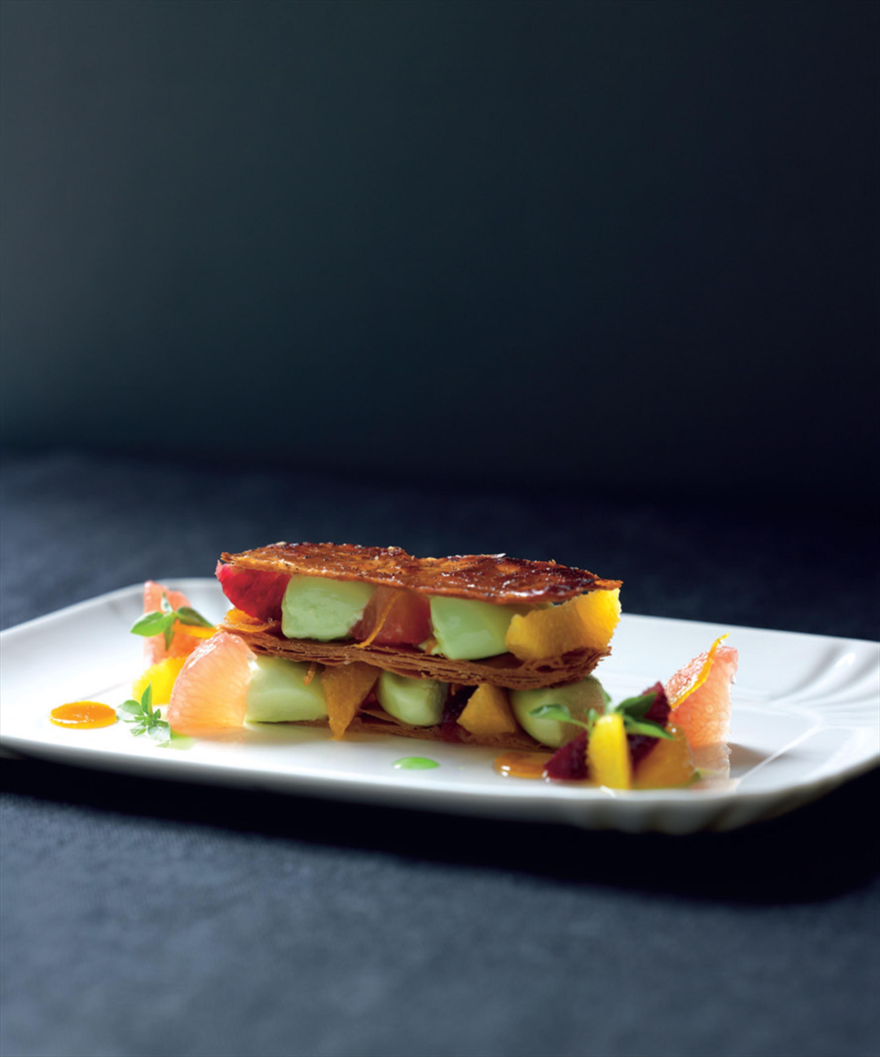 Mille-feuille with citrus fruits and basil