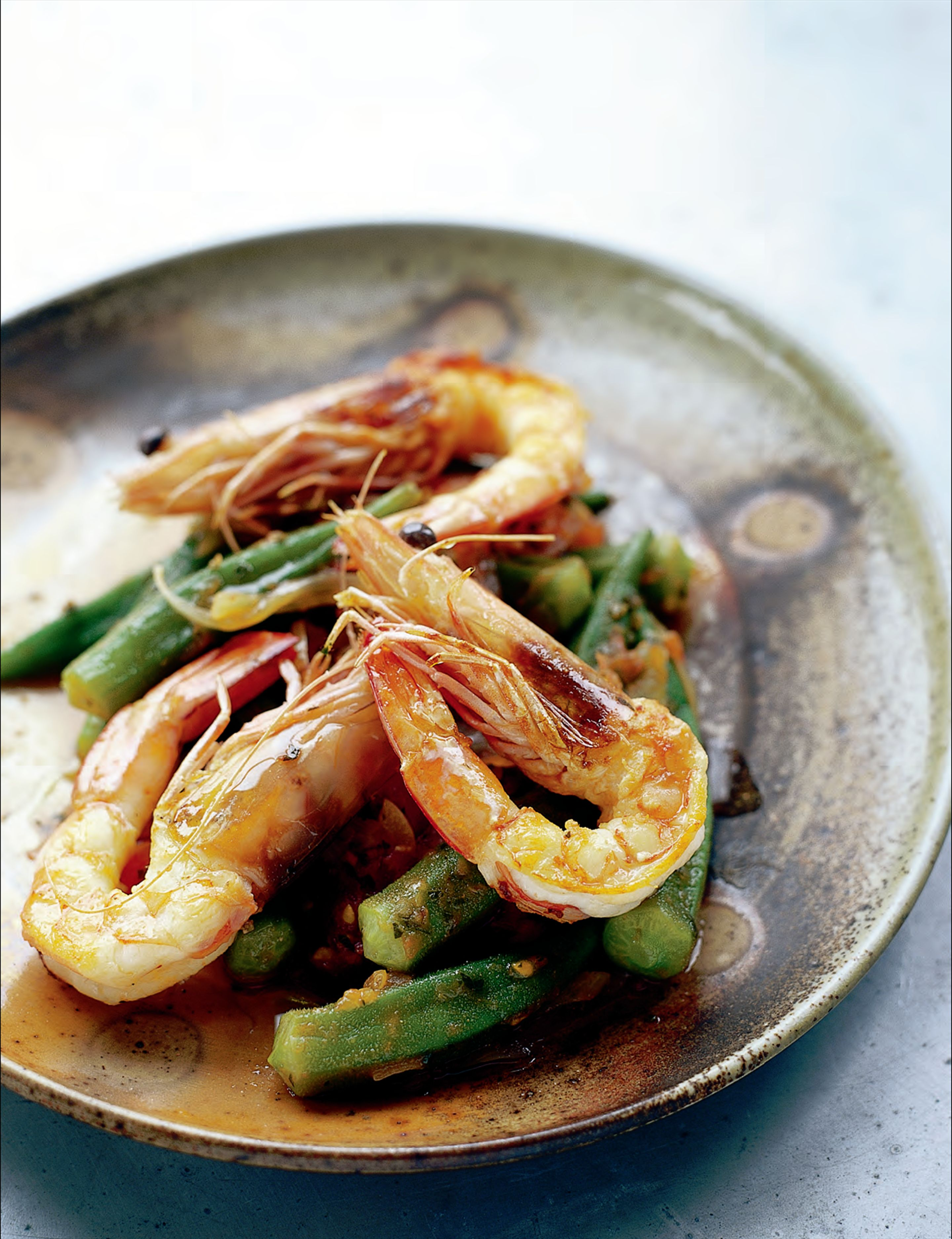 Prawns with okra