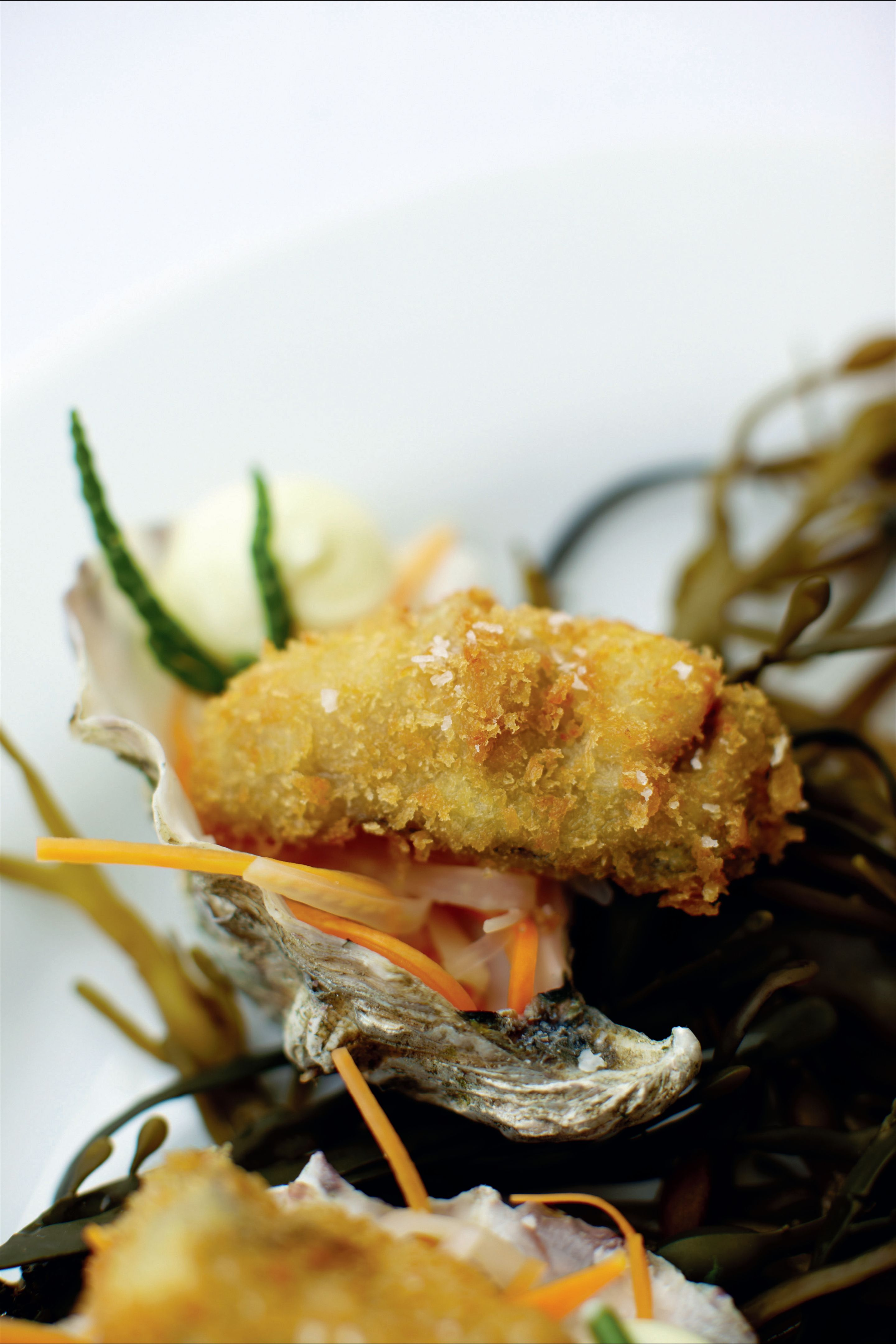 Crispy oysters with pickled vegetables and oyster mayonnaise