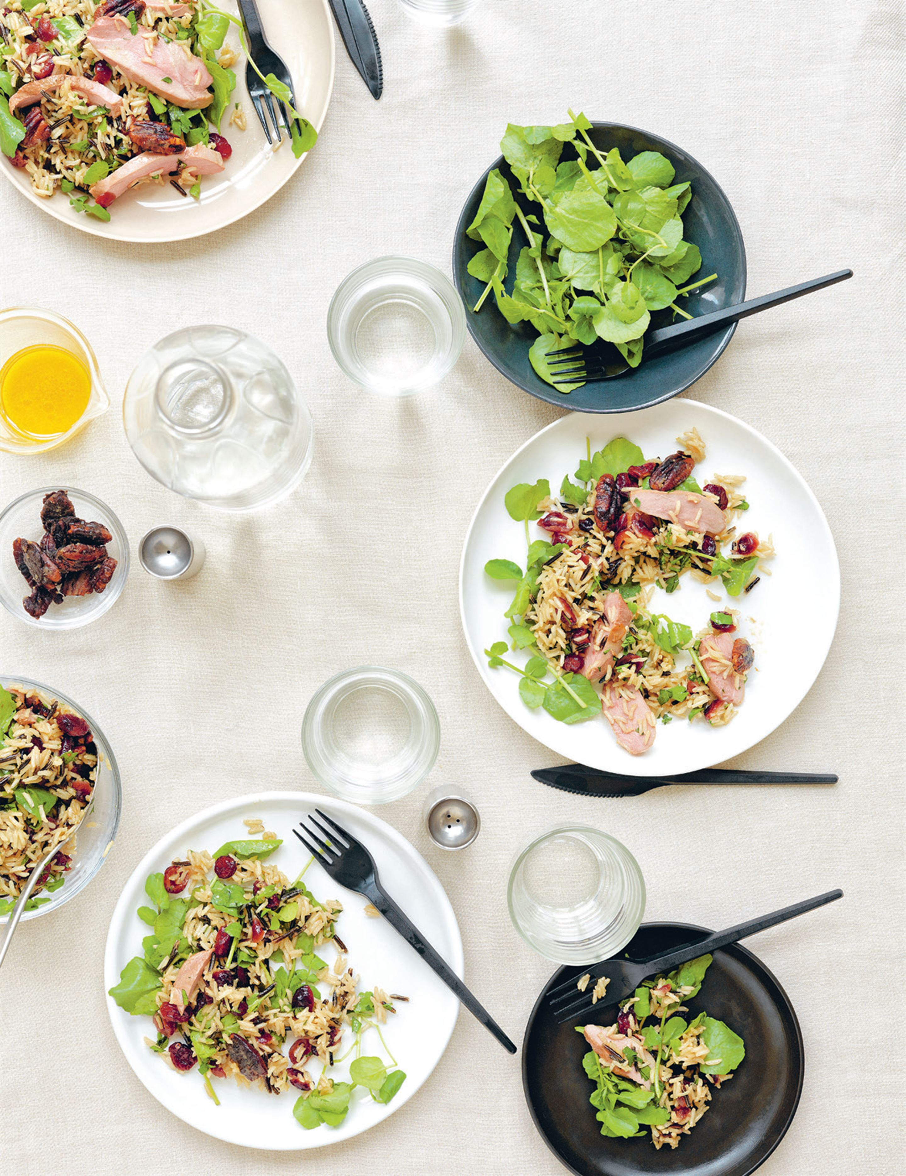 Duck & wild rice salad with cranberries & spiced pecans