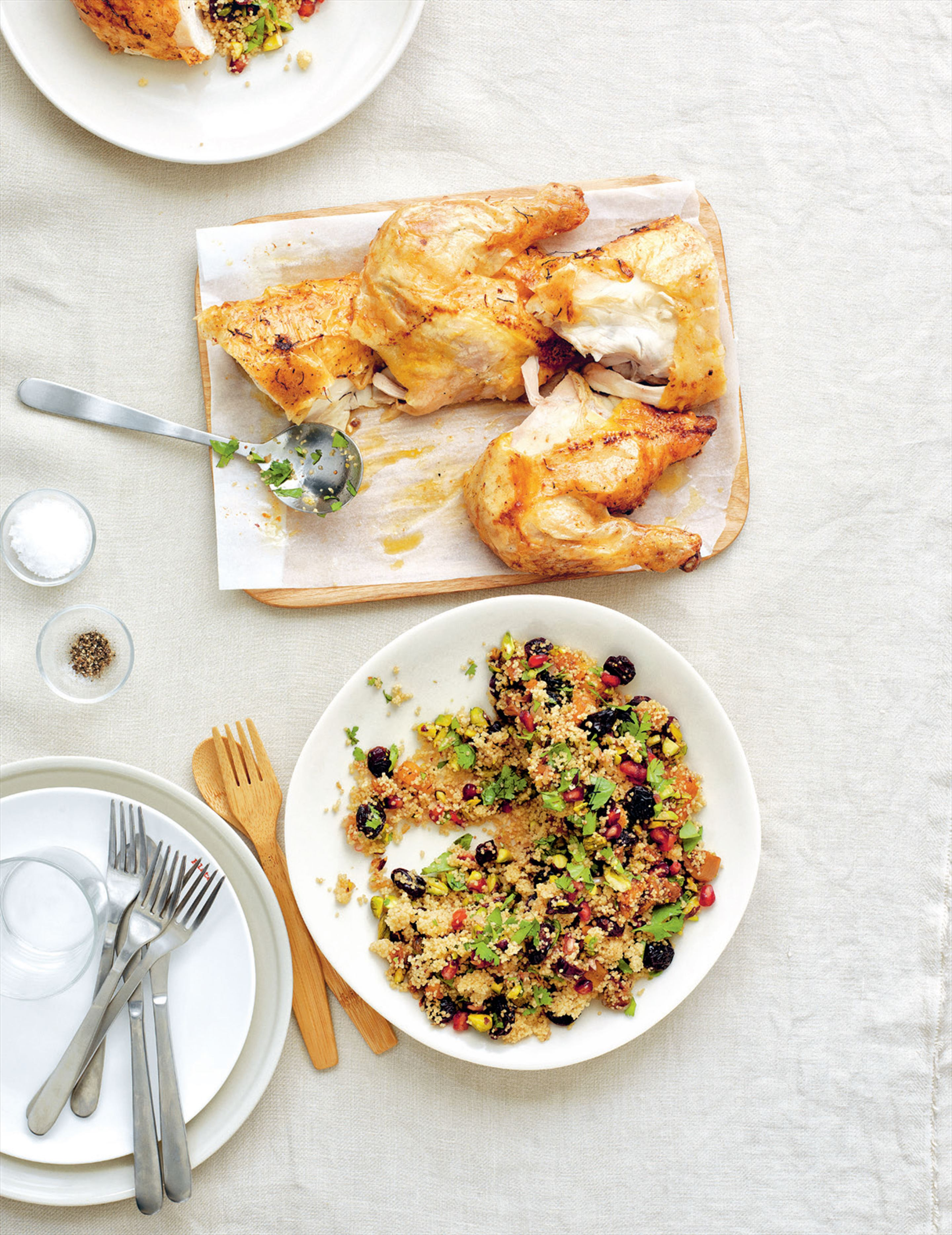 Saffron-glazed chicken with jewelled couscous