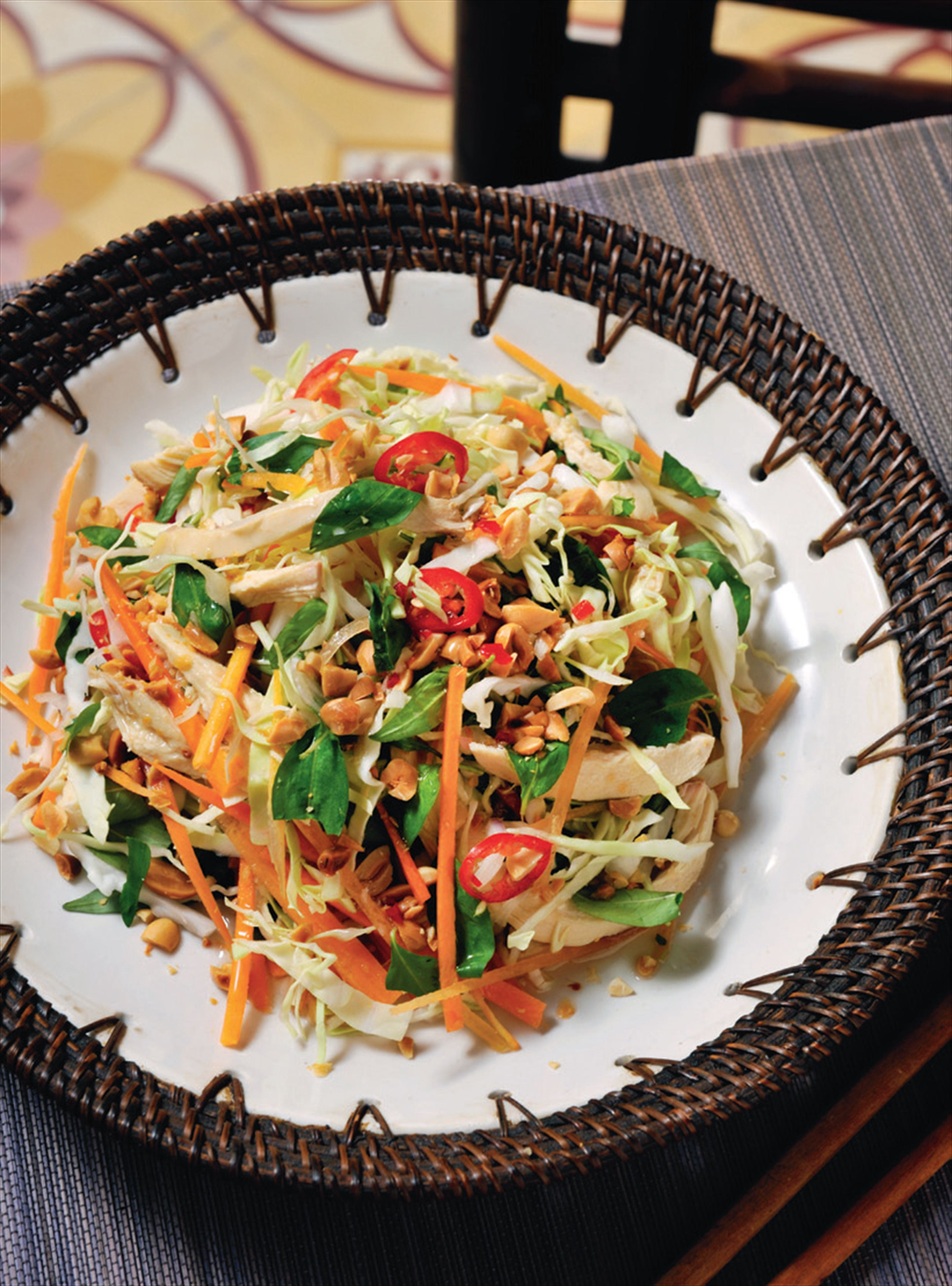 Cabbage and chicken salad with Vietnamese mint