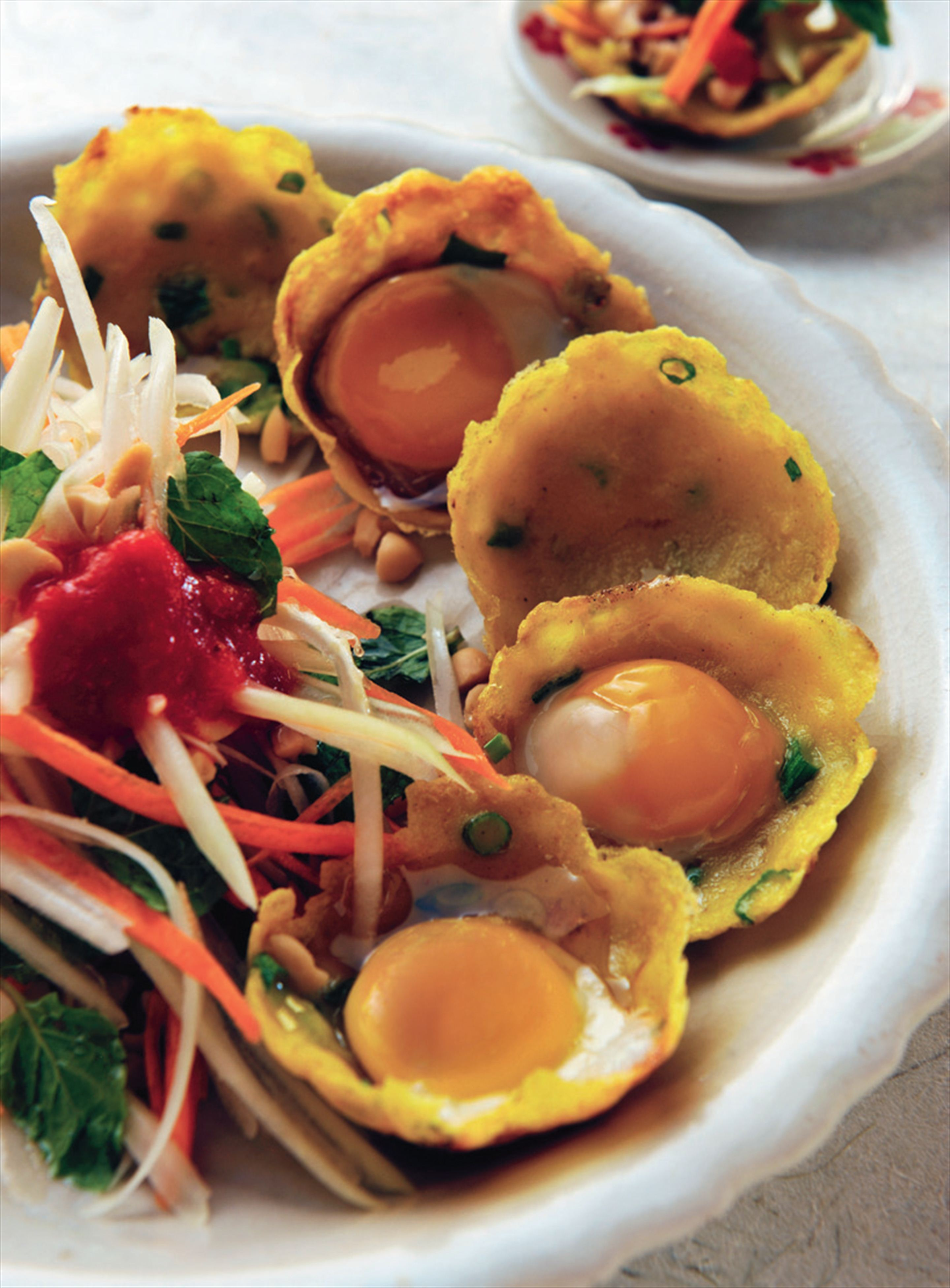 Rice flour pancakes with quail eggs