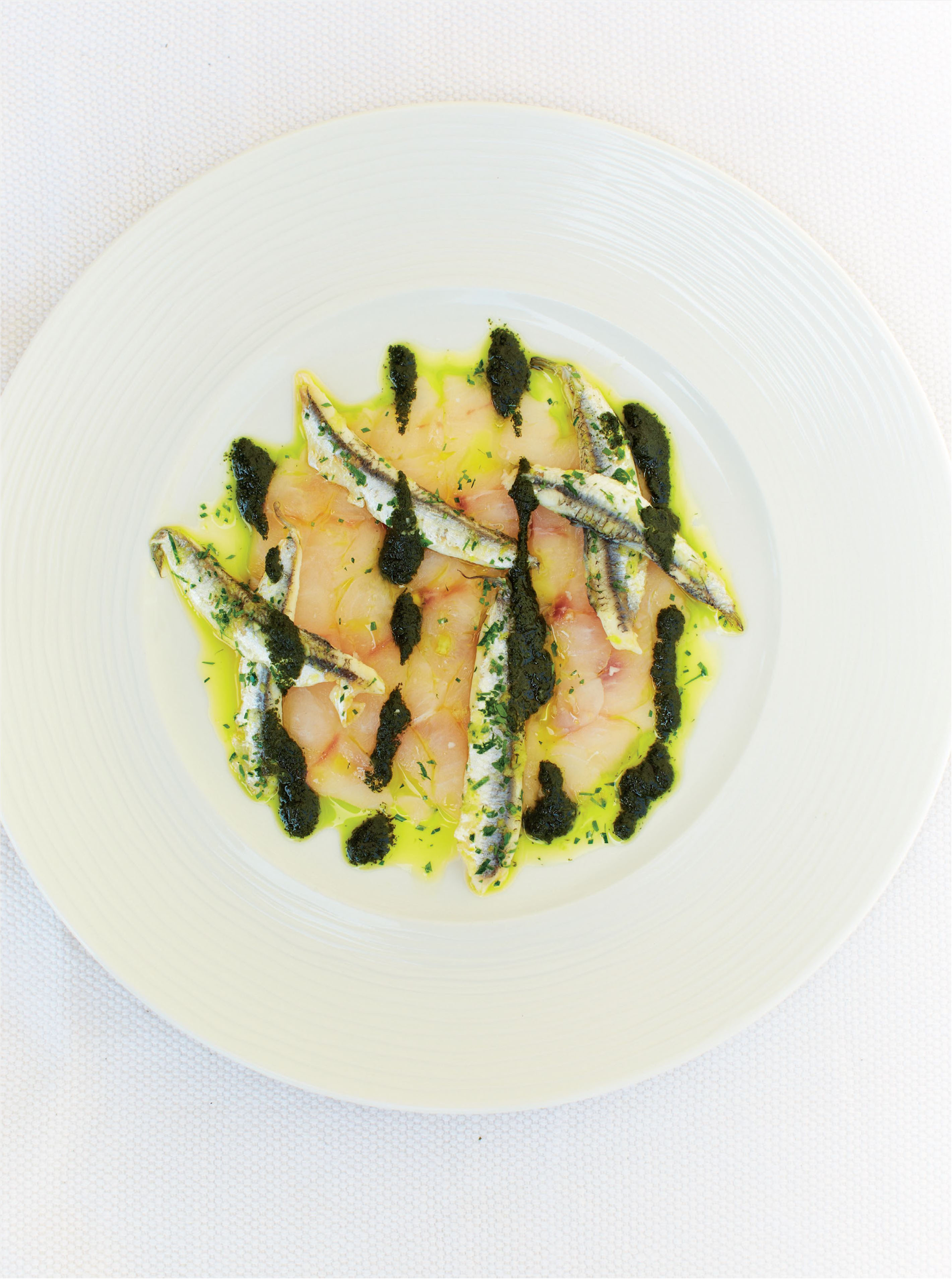 Raw bass with anchovy, mint and coriander dressing
