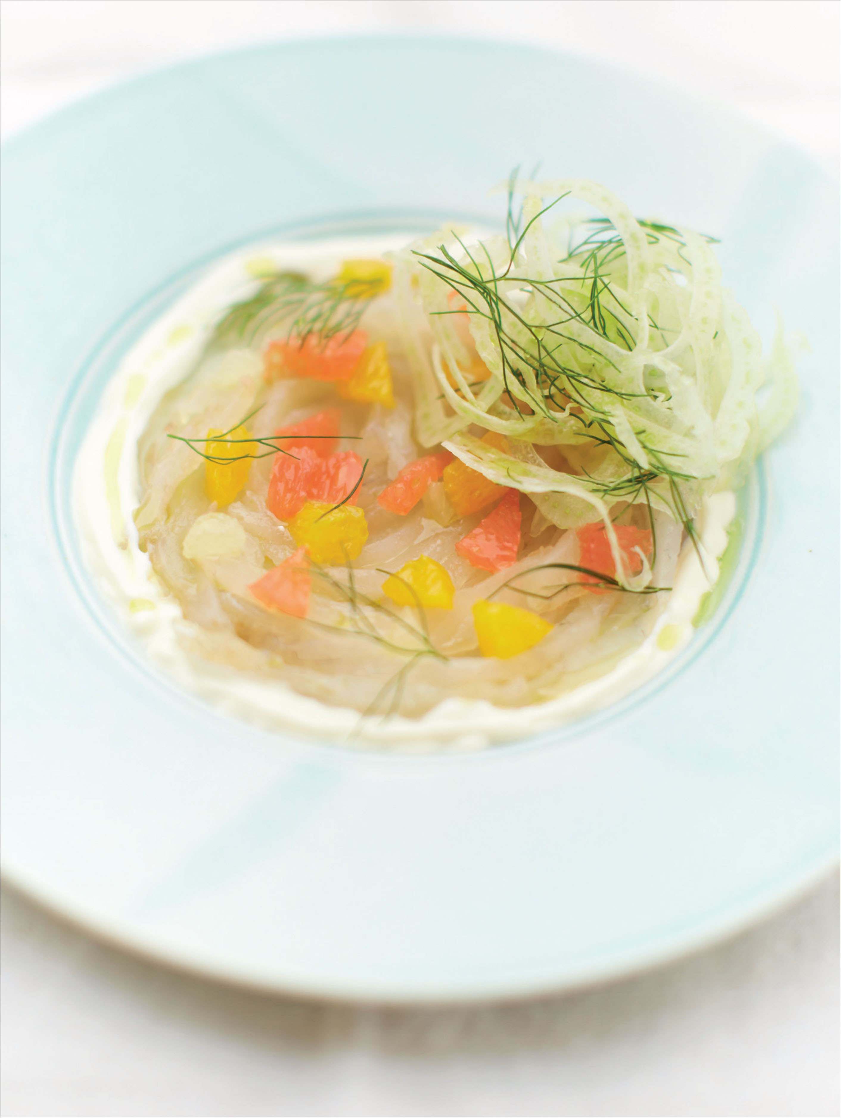 Cured wild bream with fennel, citrus fruit and pastis soured cream