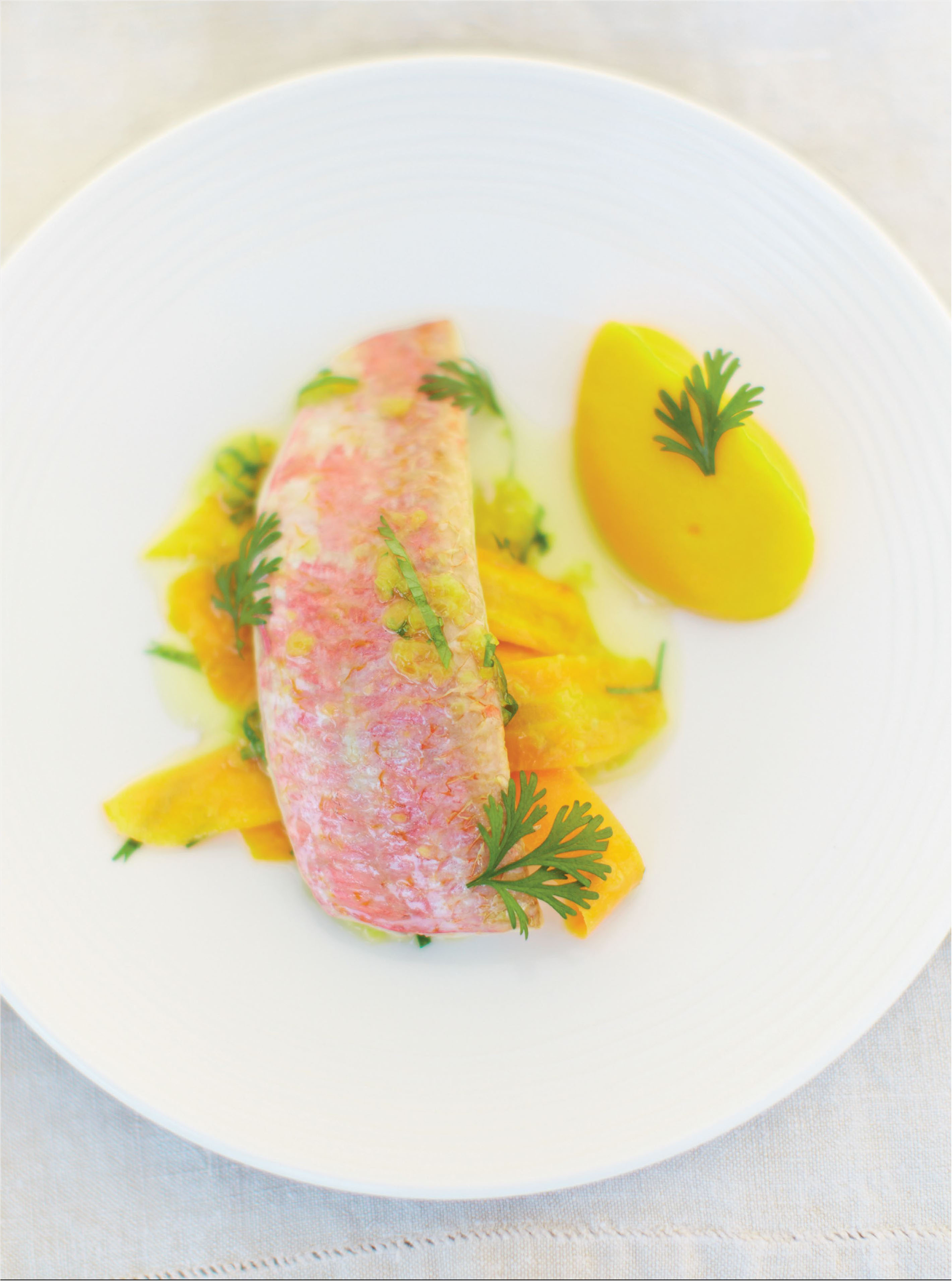 Soused red mullet with saffron and carrots