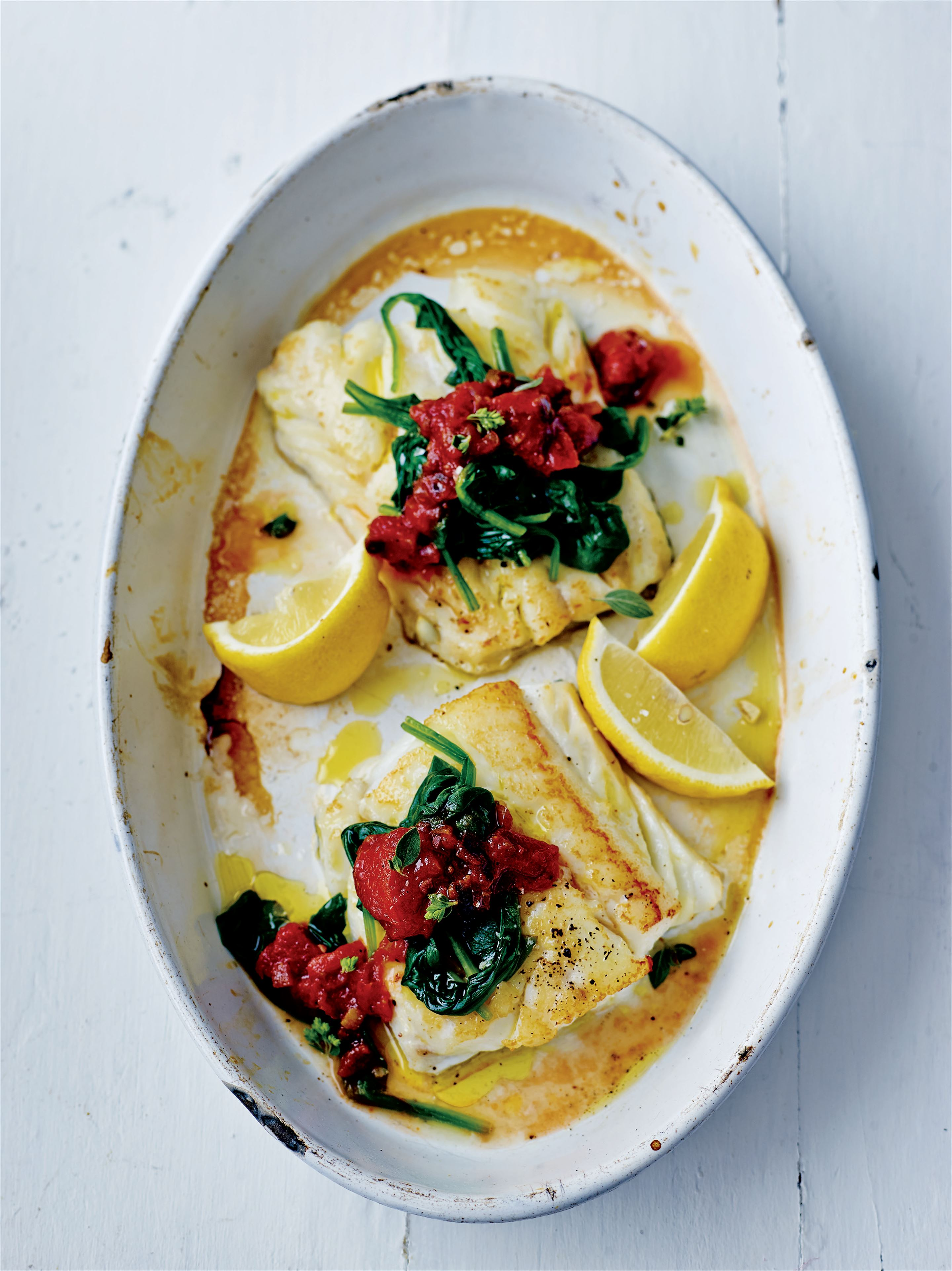 Heart-healthy Sicilian cod with spinach
