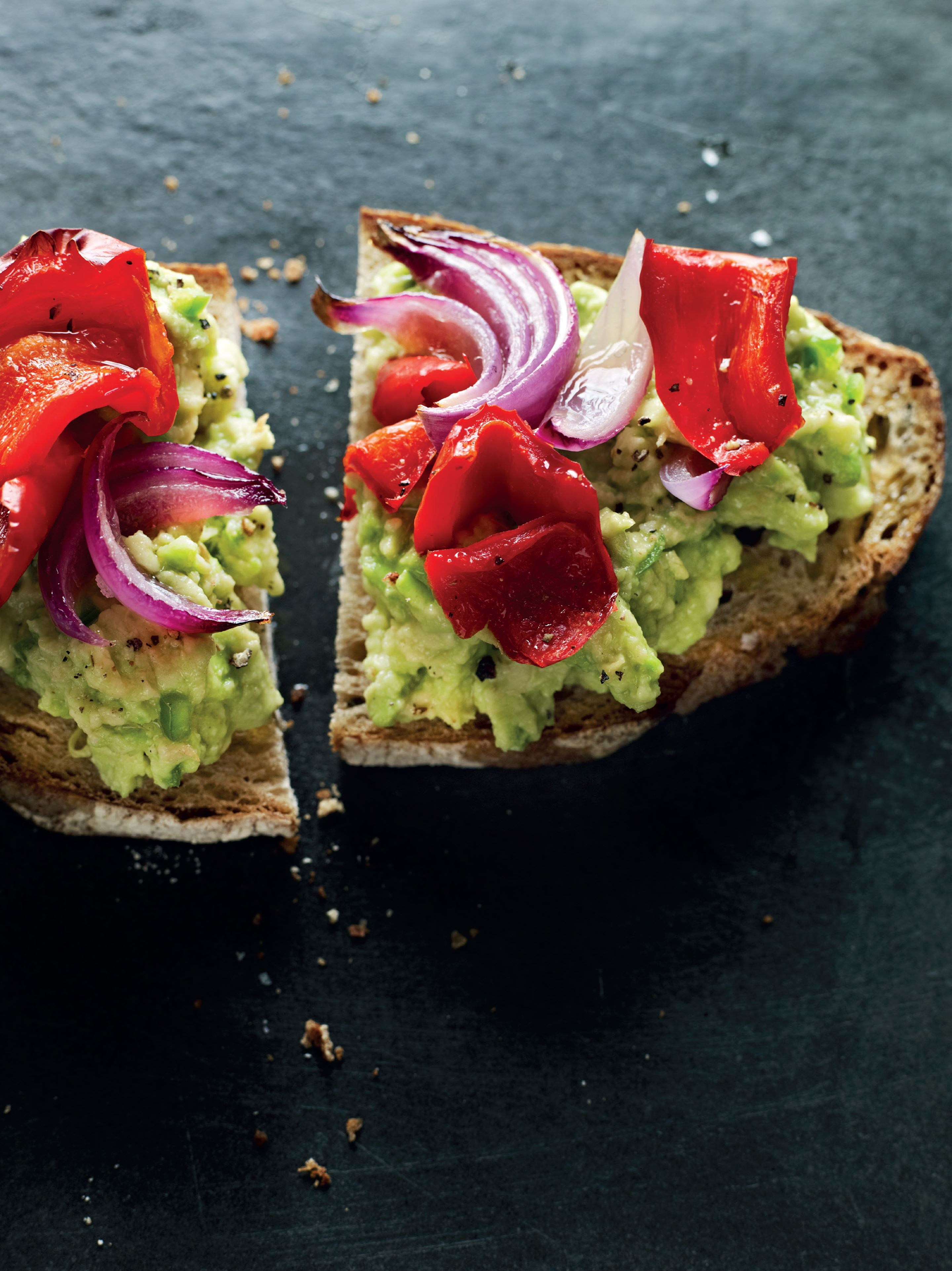 Roasted vegetable and guacamole open sandwich