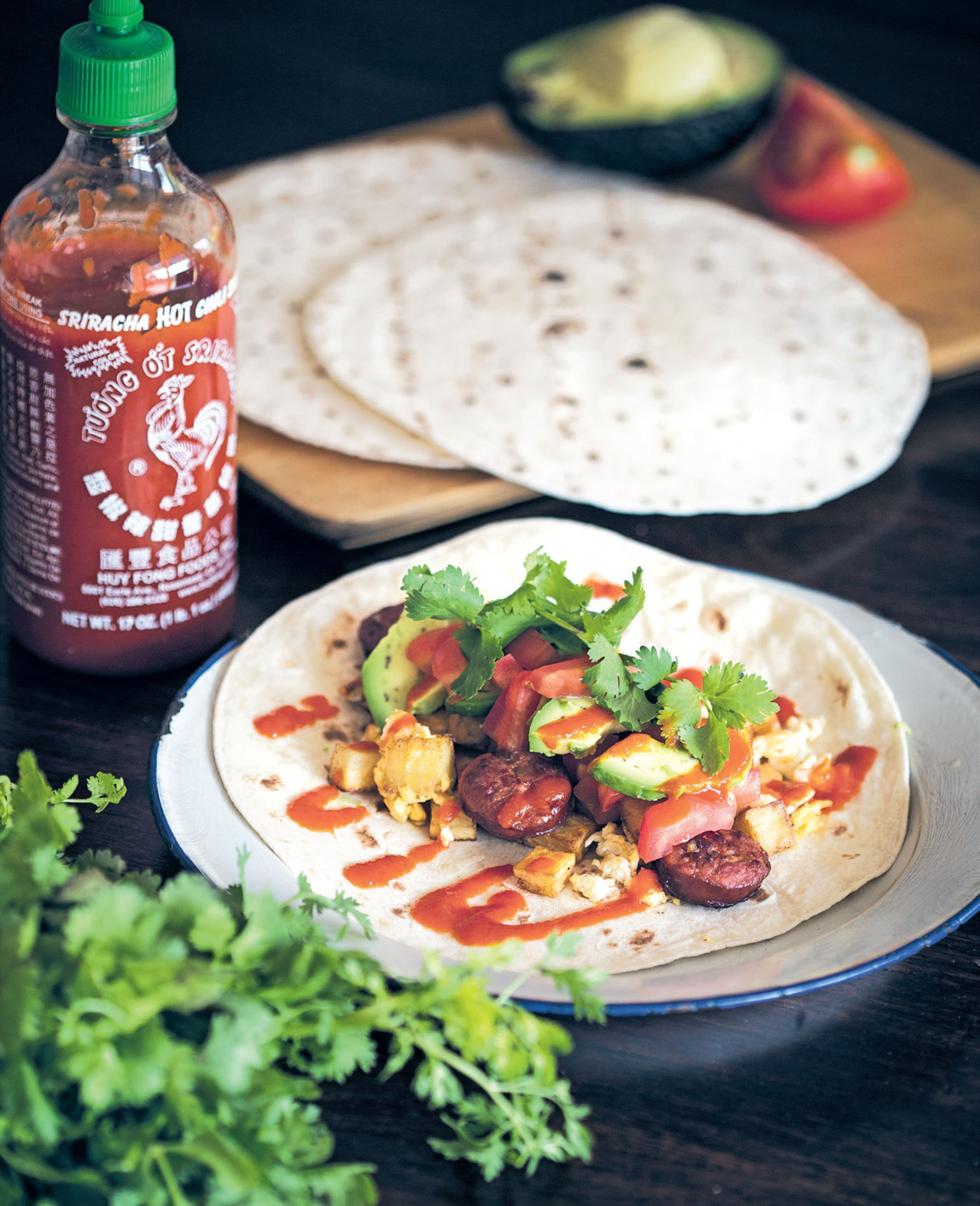 Hearty chorizo and haloumi breakfast wrap