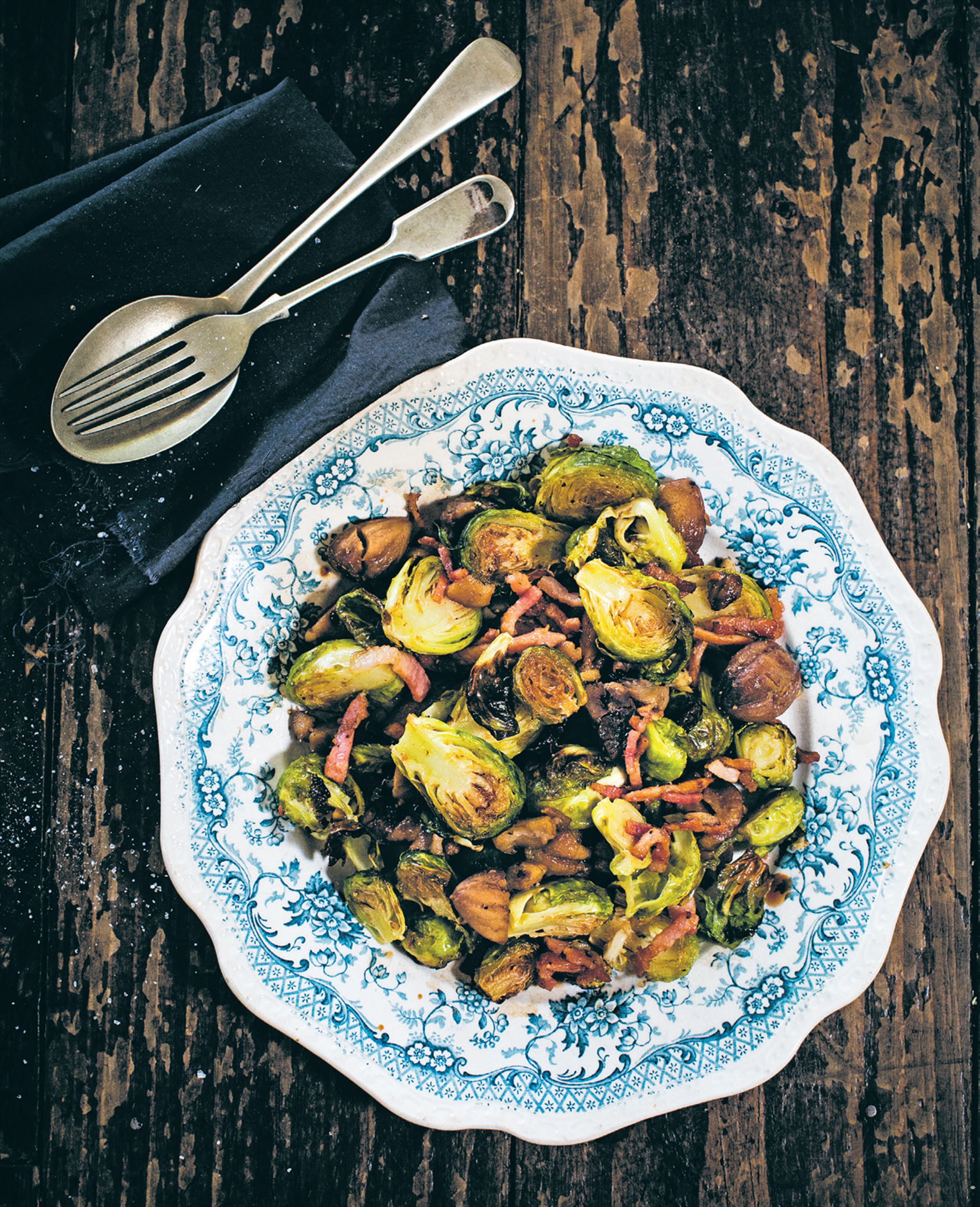 Roasted balsamic brussels sprouts, chestnuts and bacon