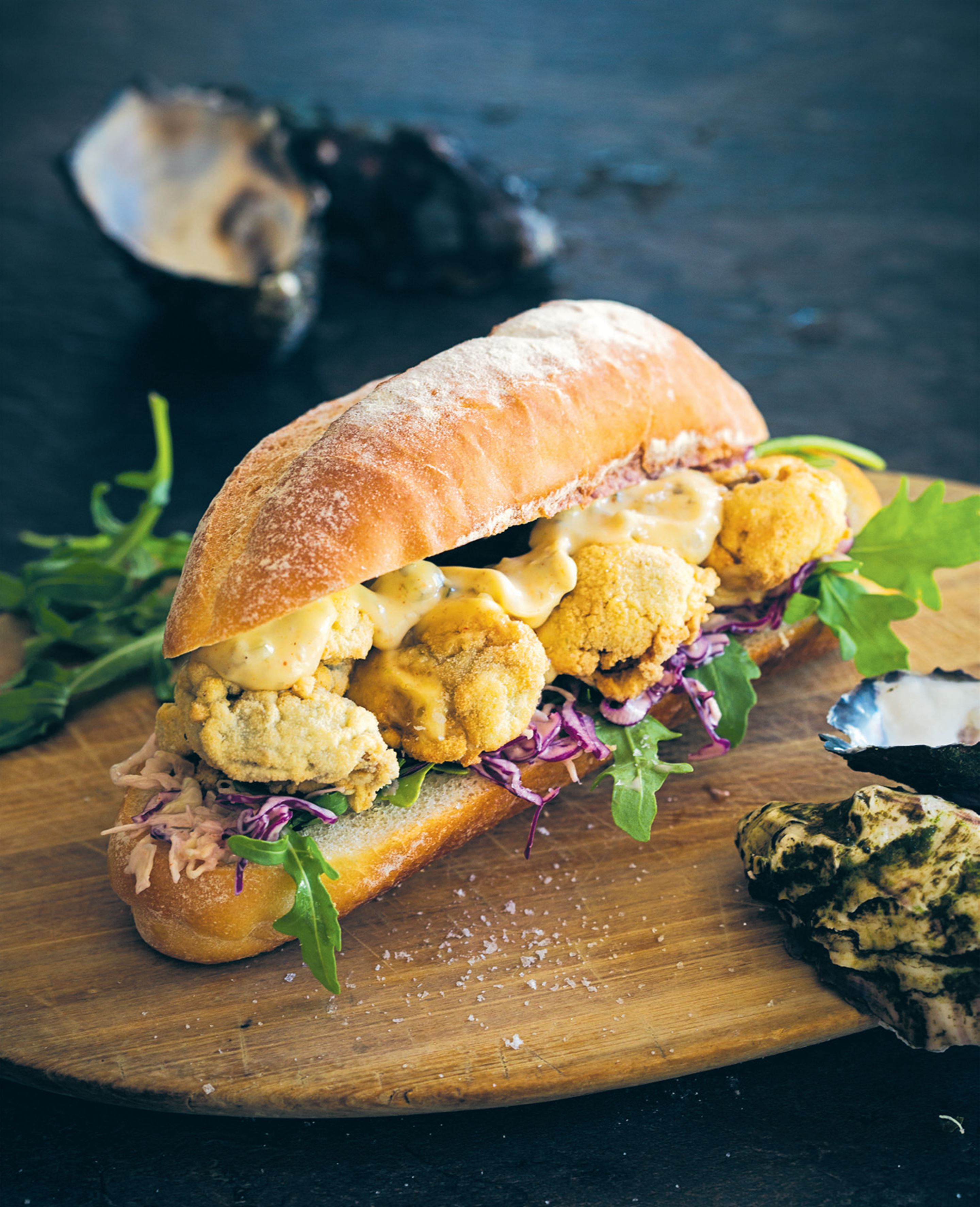 Spicy oyster po' boy