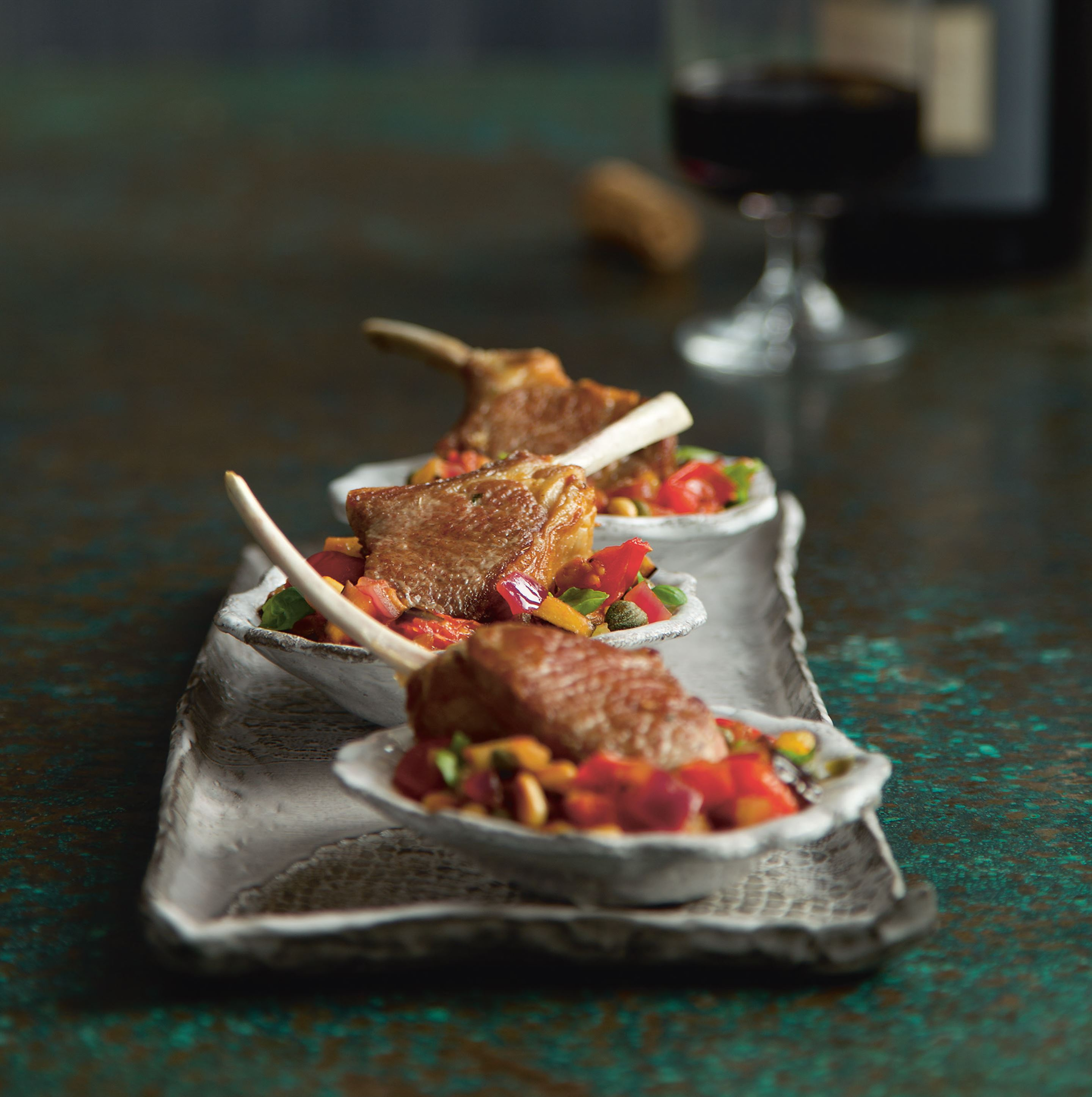 Grilled baby lamb cutlets with caponata