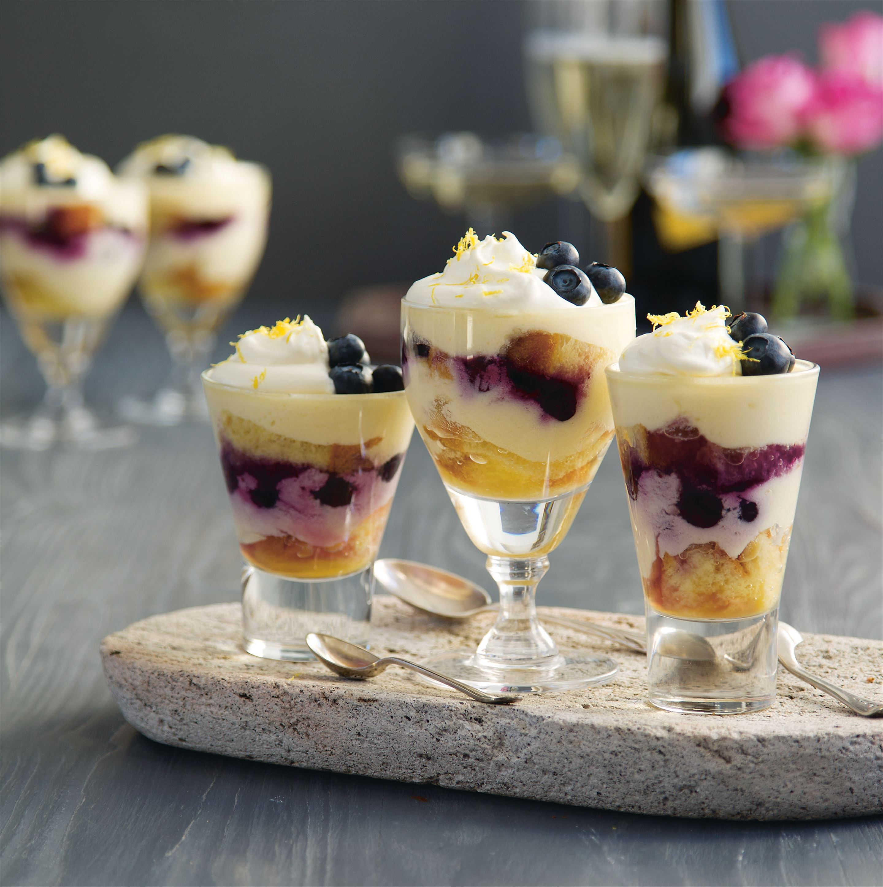 Mini limoncello and blueberry trifles