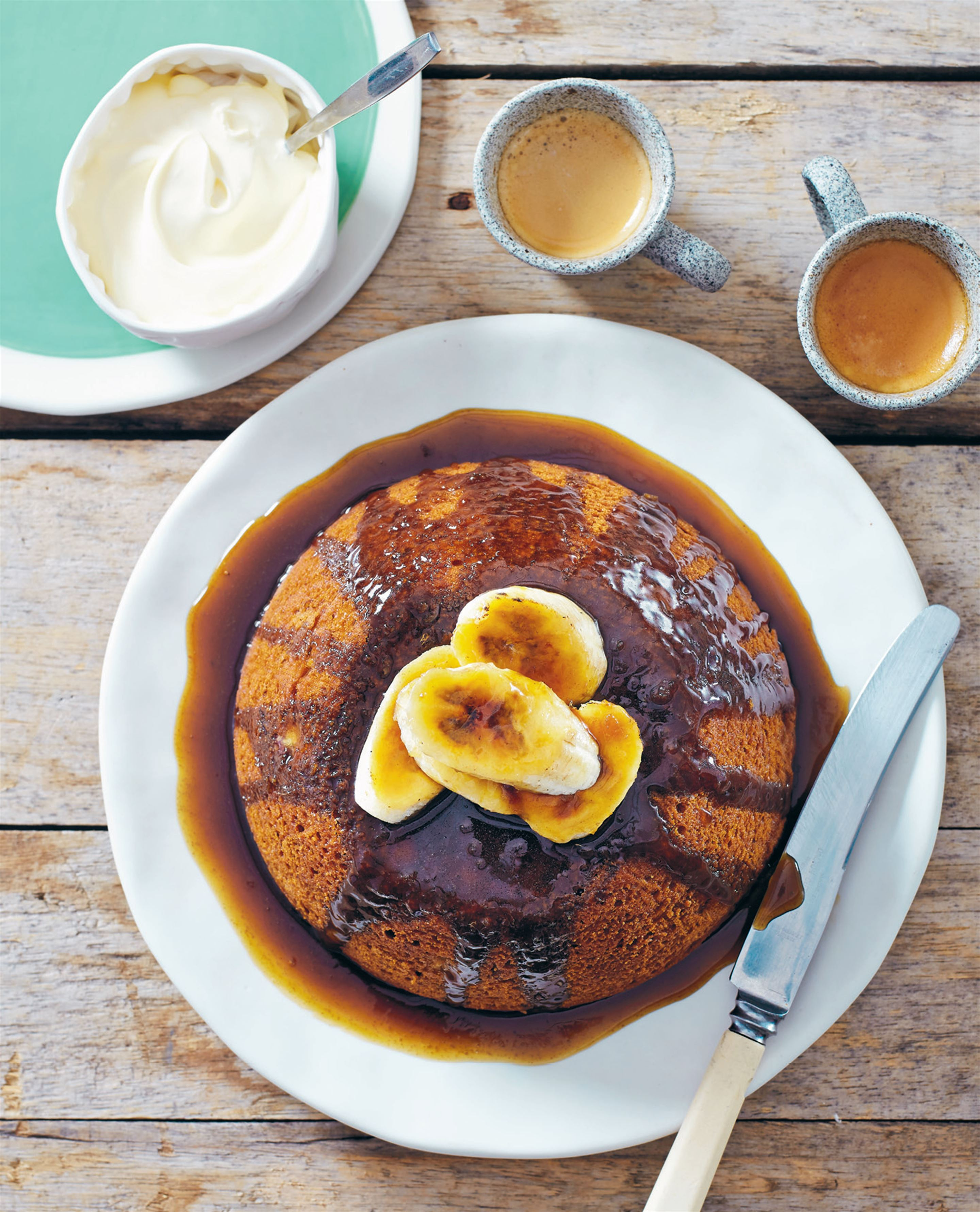 Steamed banana and ginger pudding with brûléed bananas