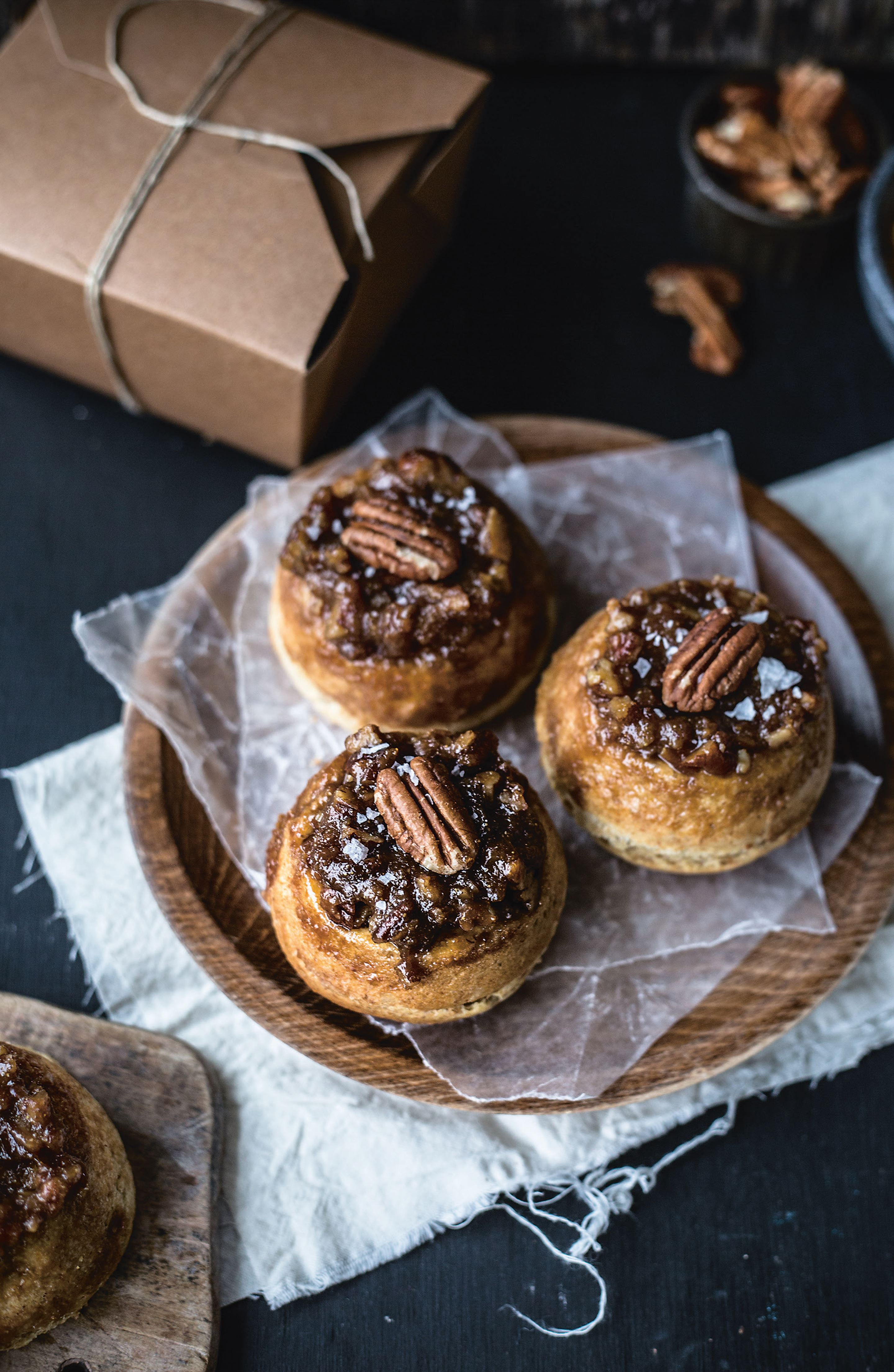 Wholemeal maple pecan buns