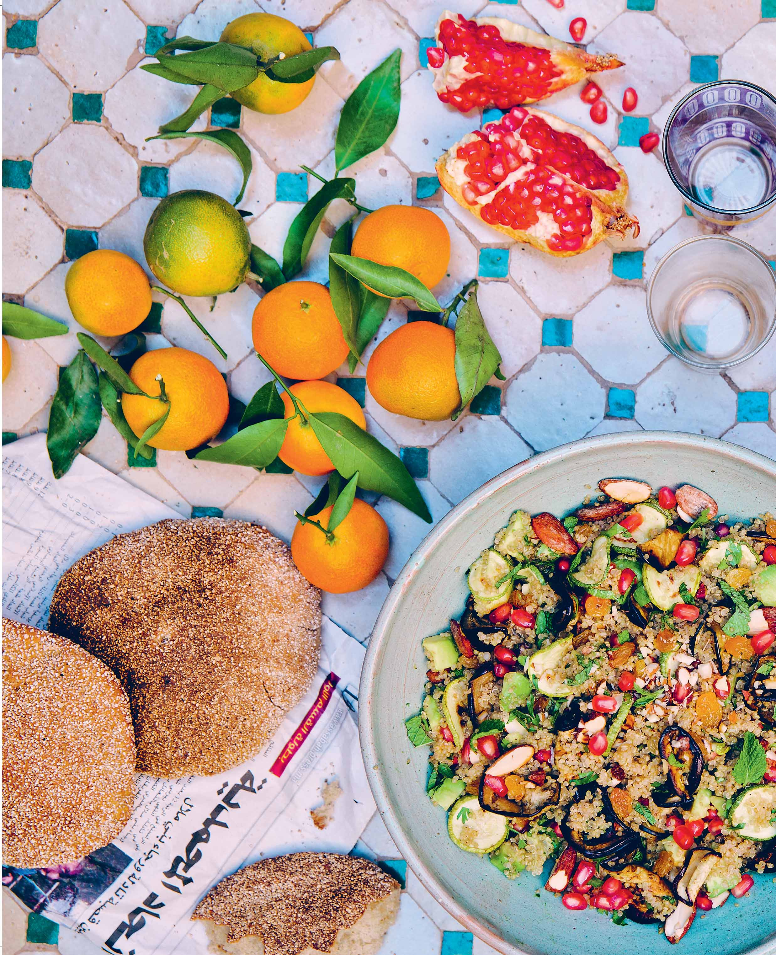 A mix of six Moroccan salads
