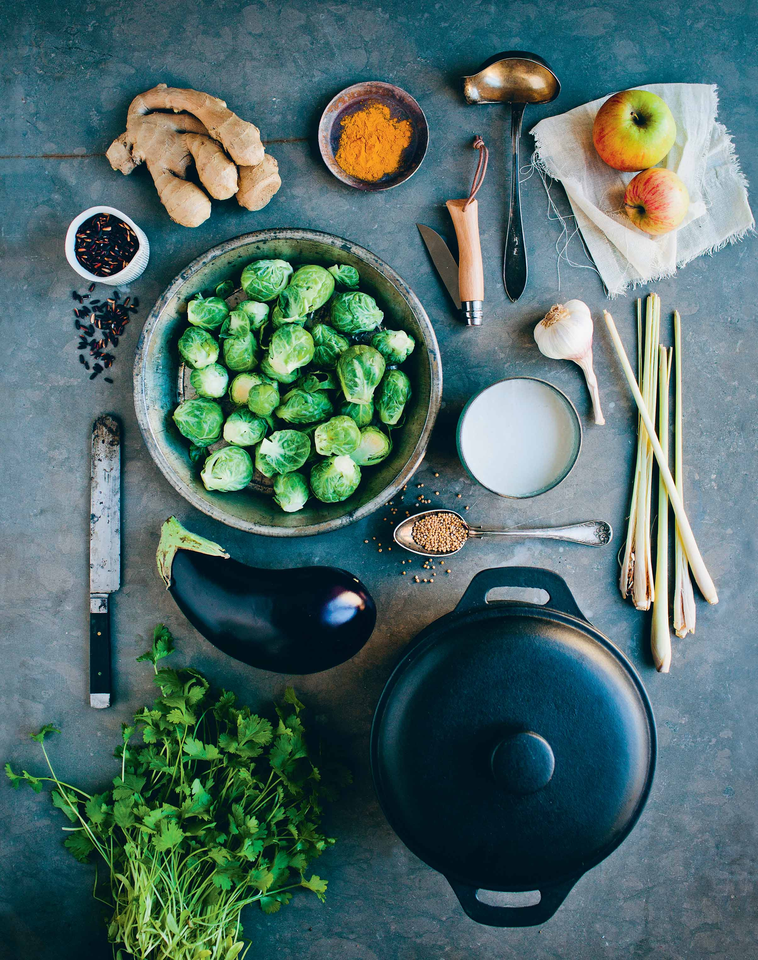 Lemongrass, aubergine and Brussels sprout curry