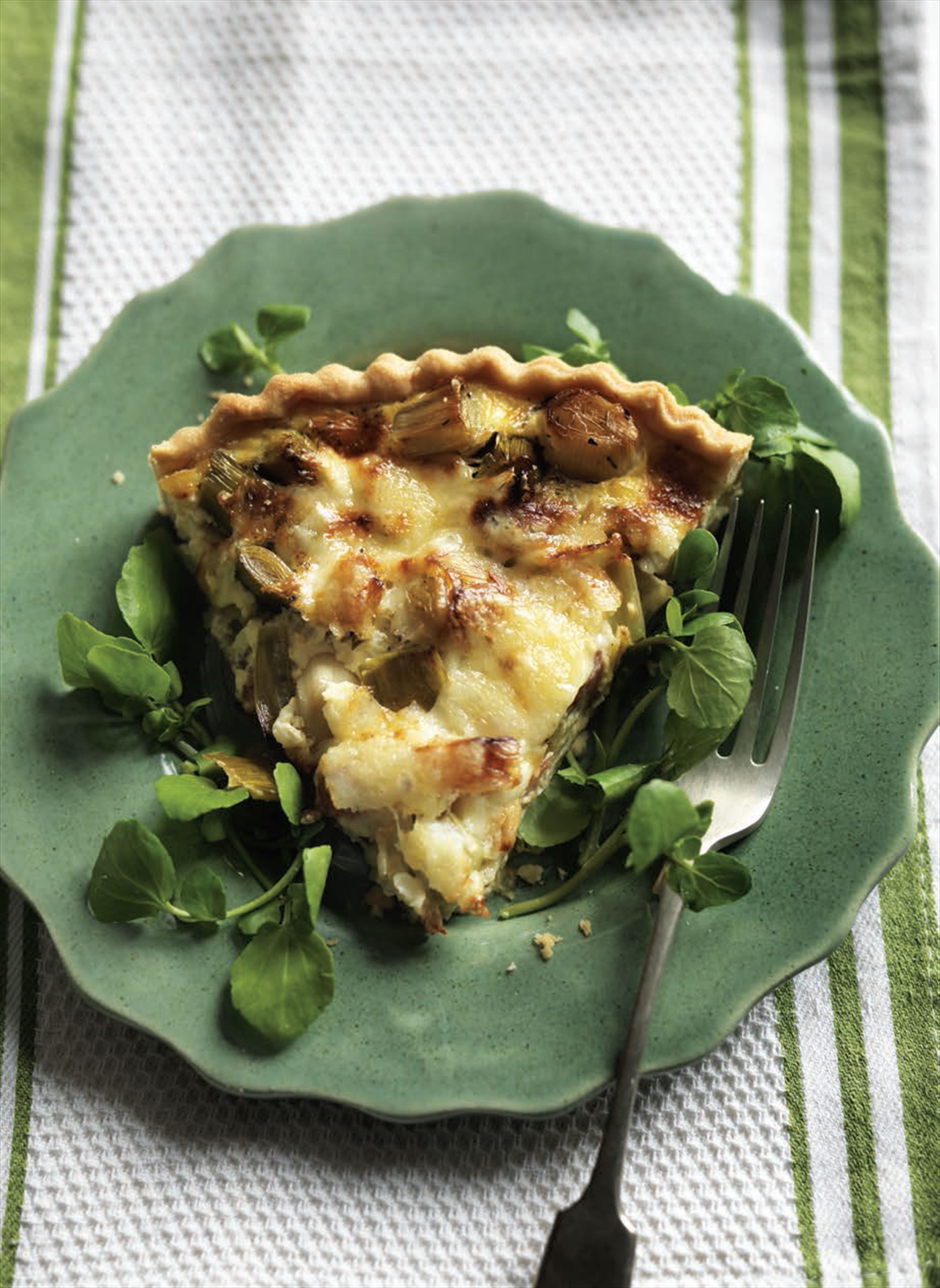 Leek, bacon and cheese quiche