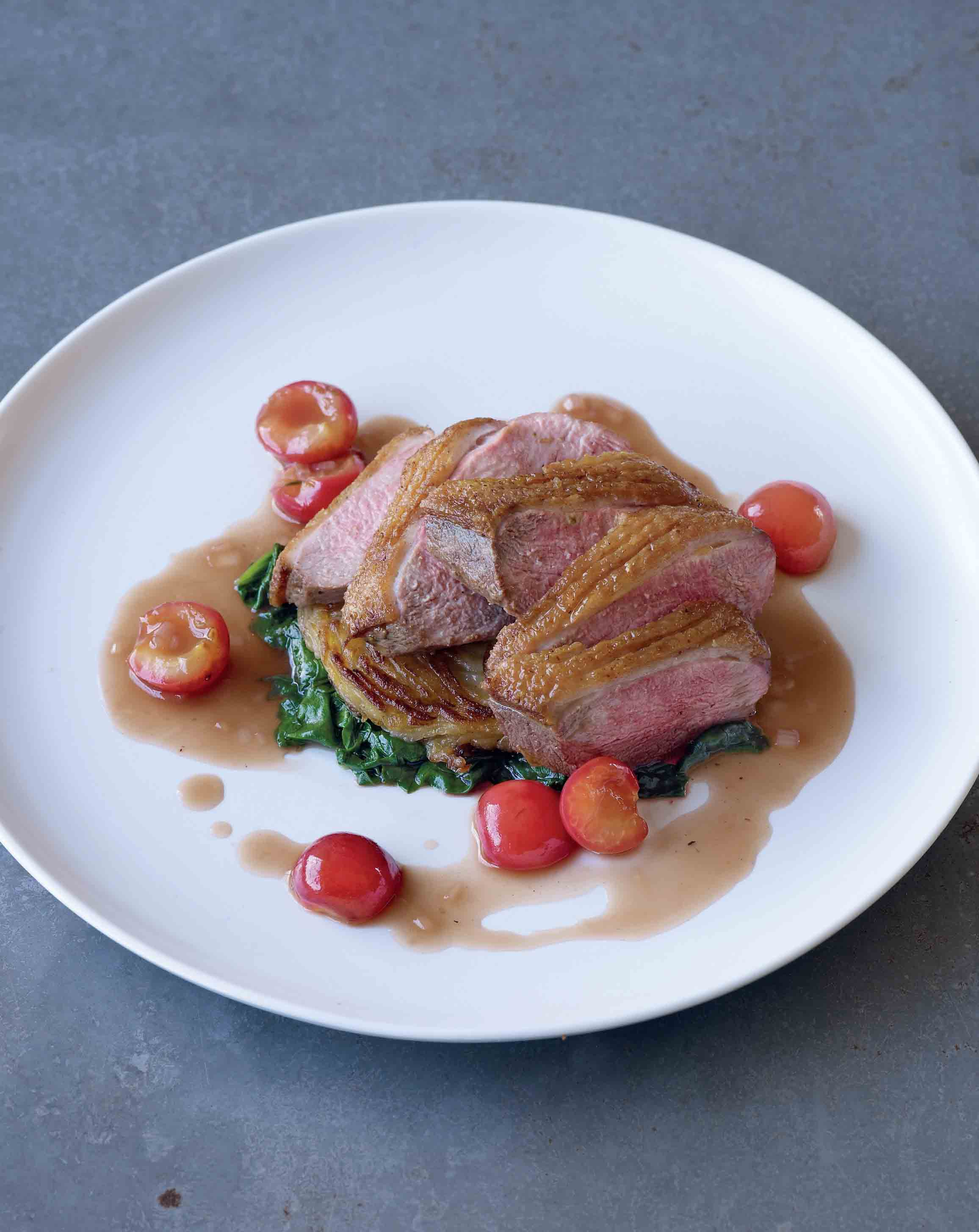 Duck breasts with thyme and cherries