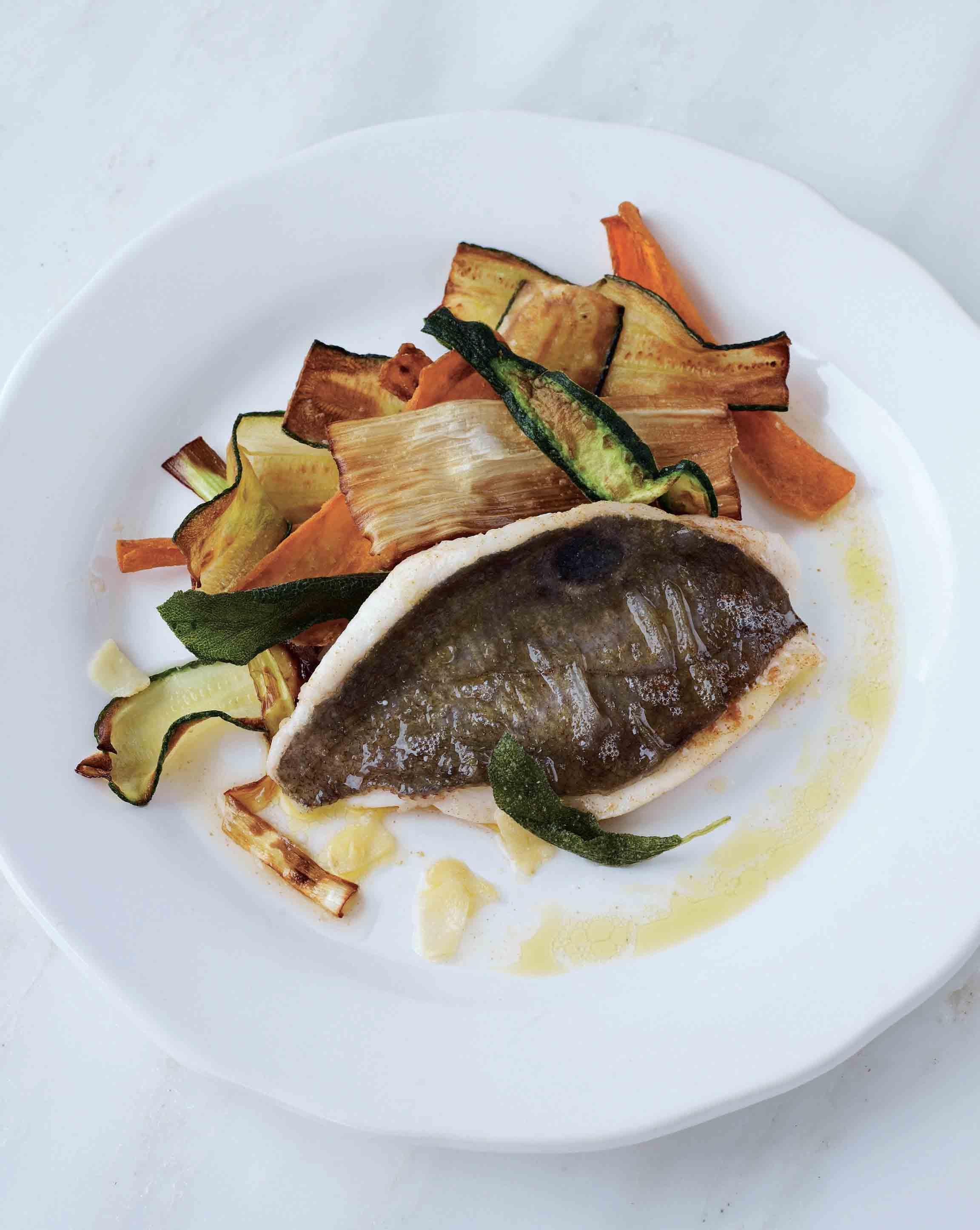 John Dory with sage butter and deep-fried vegetable ribbons