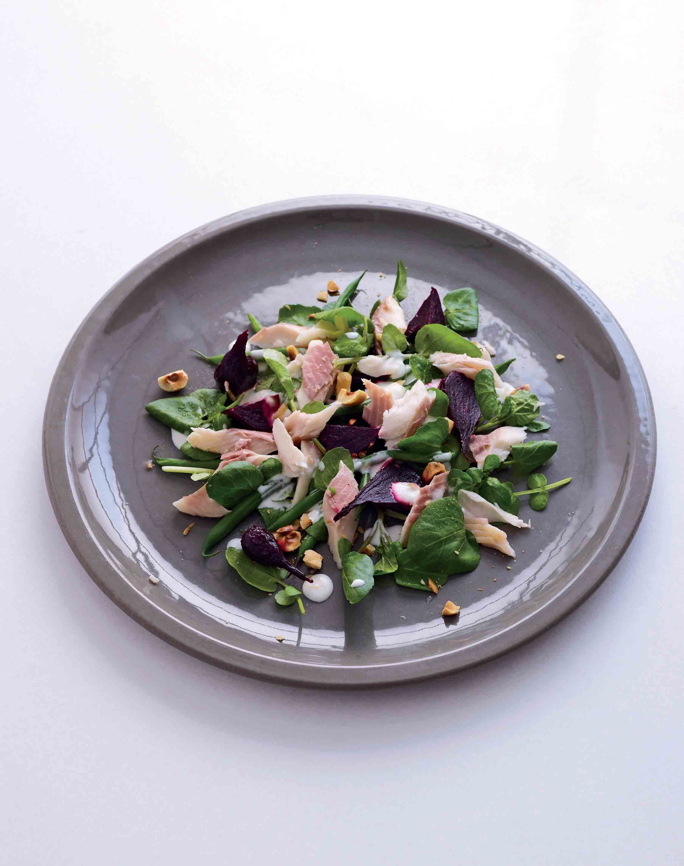Hot-smoked trout with roasted beetroot and watercress