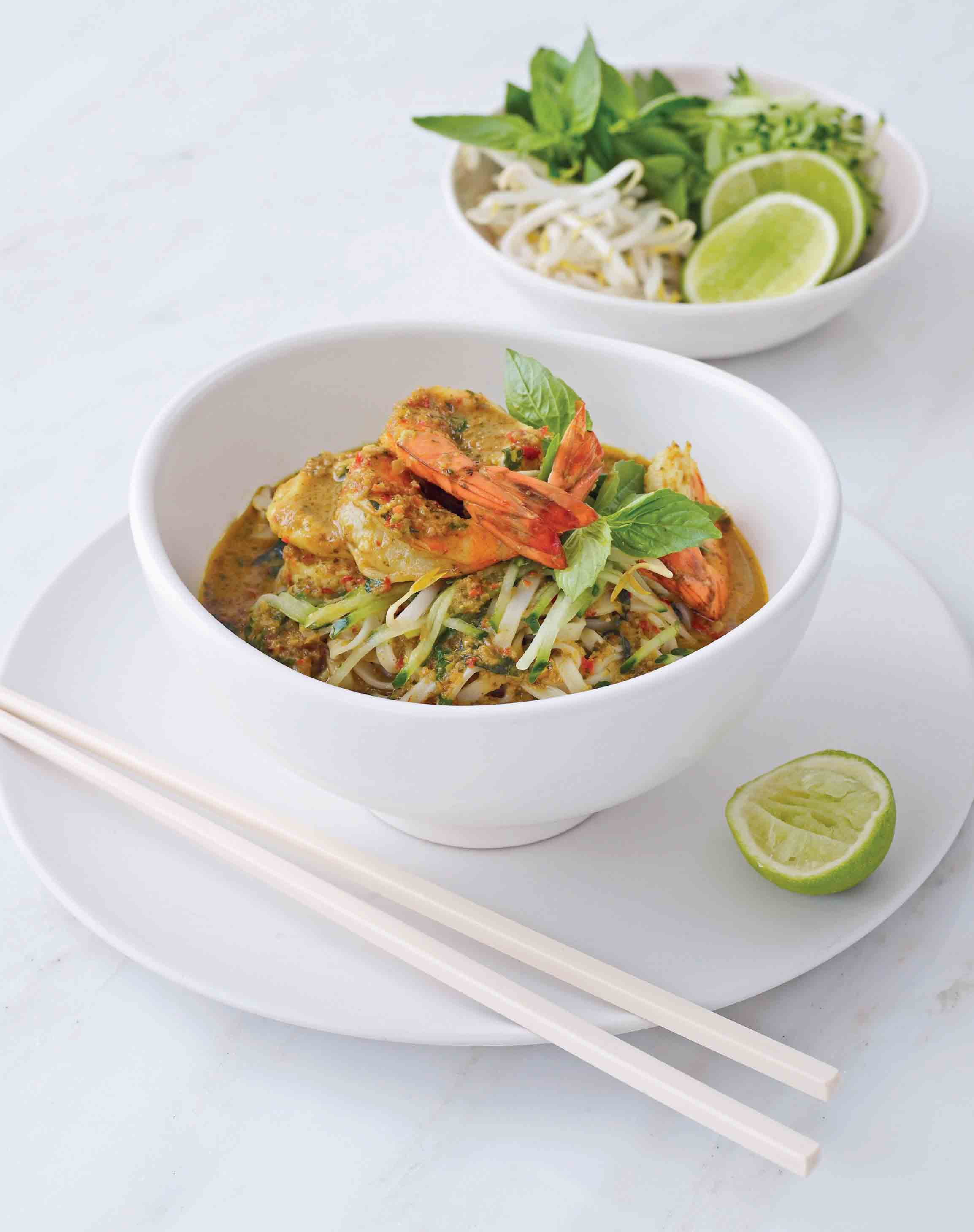 Prawn laksa with Thai basil and lime