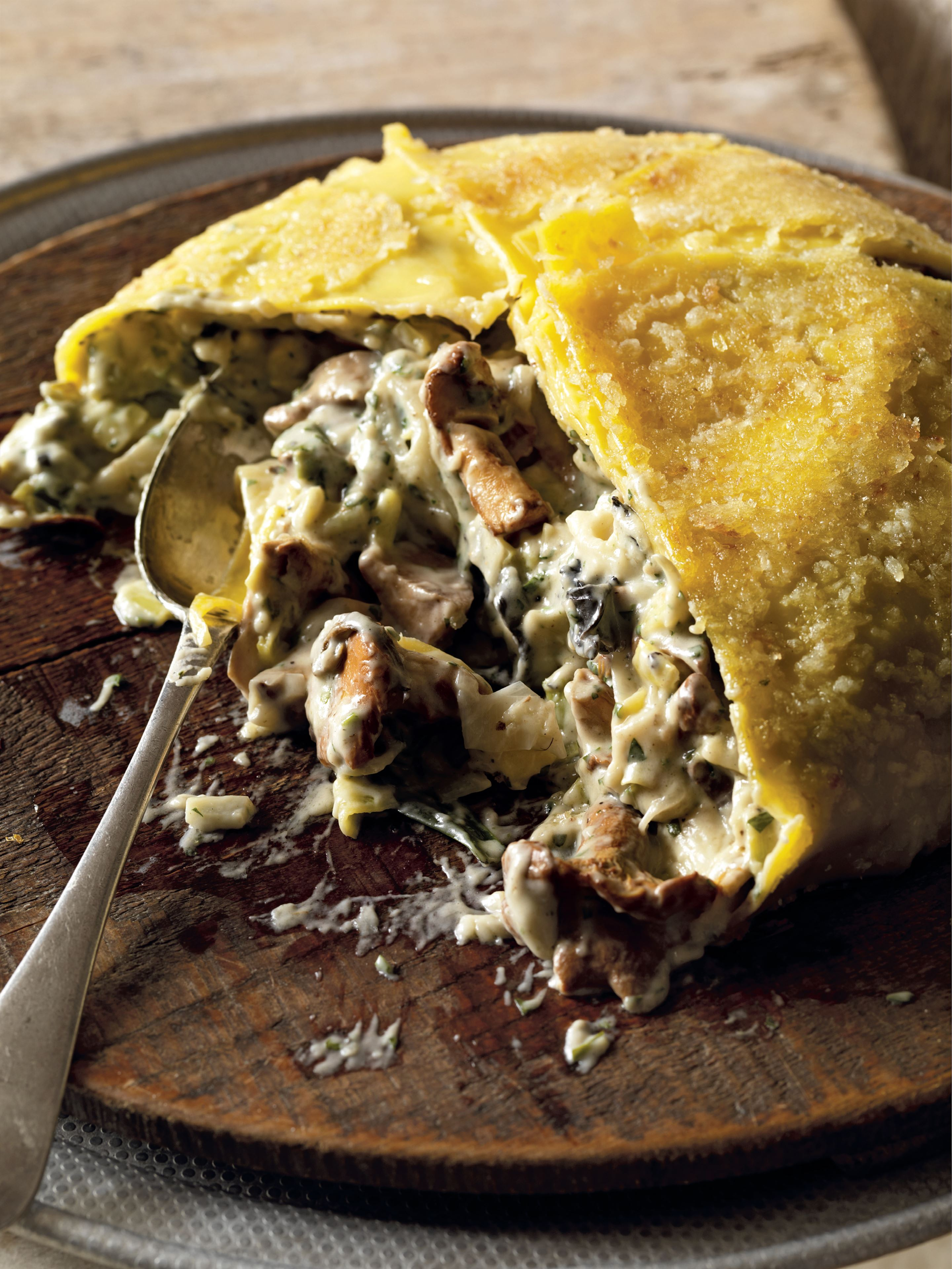 Timpano with spring leeks and wild mushrooms