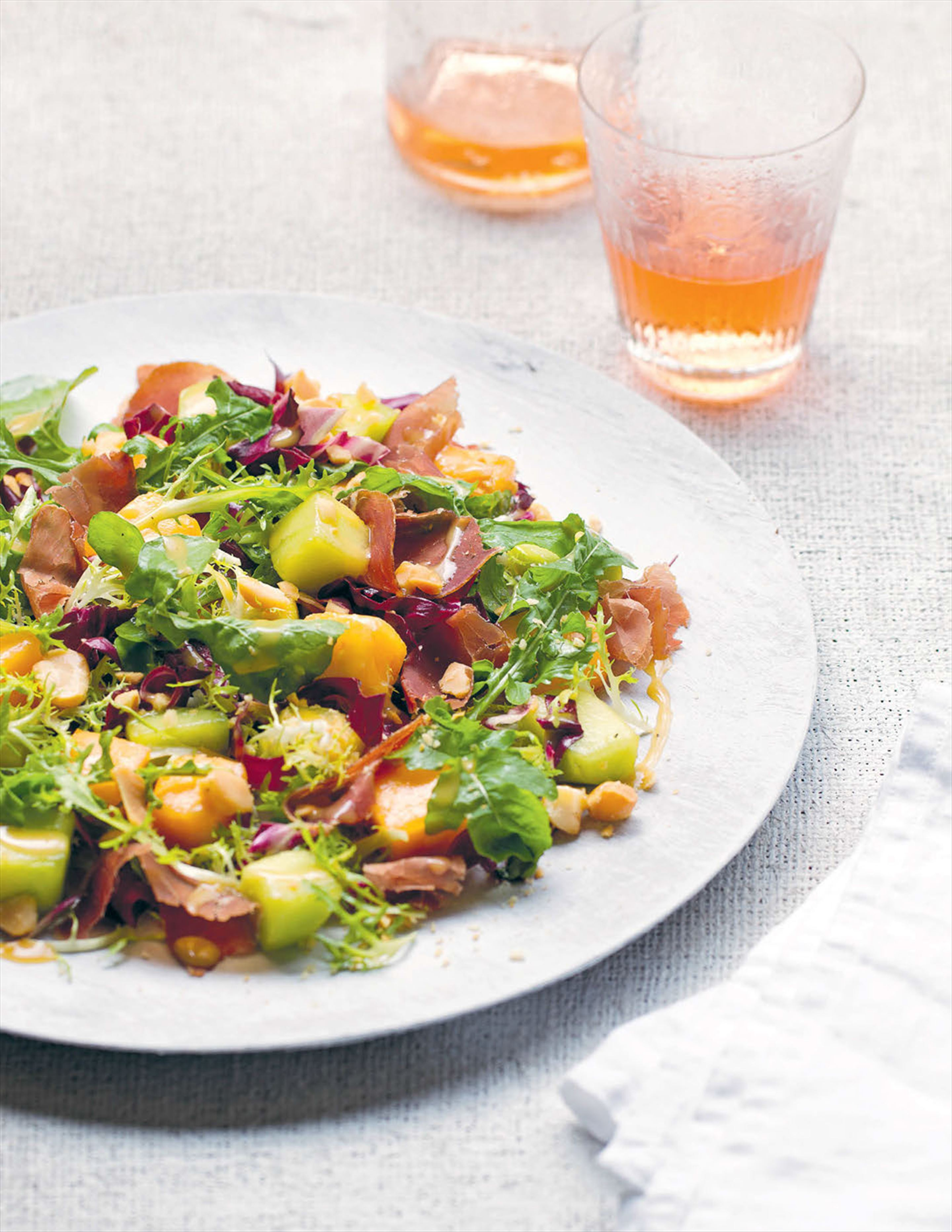 Salad of Parma ham, melon and radicchio