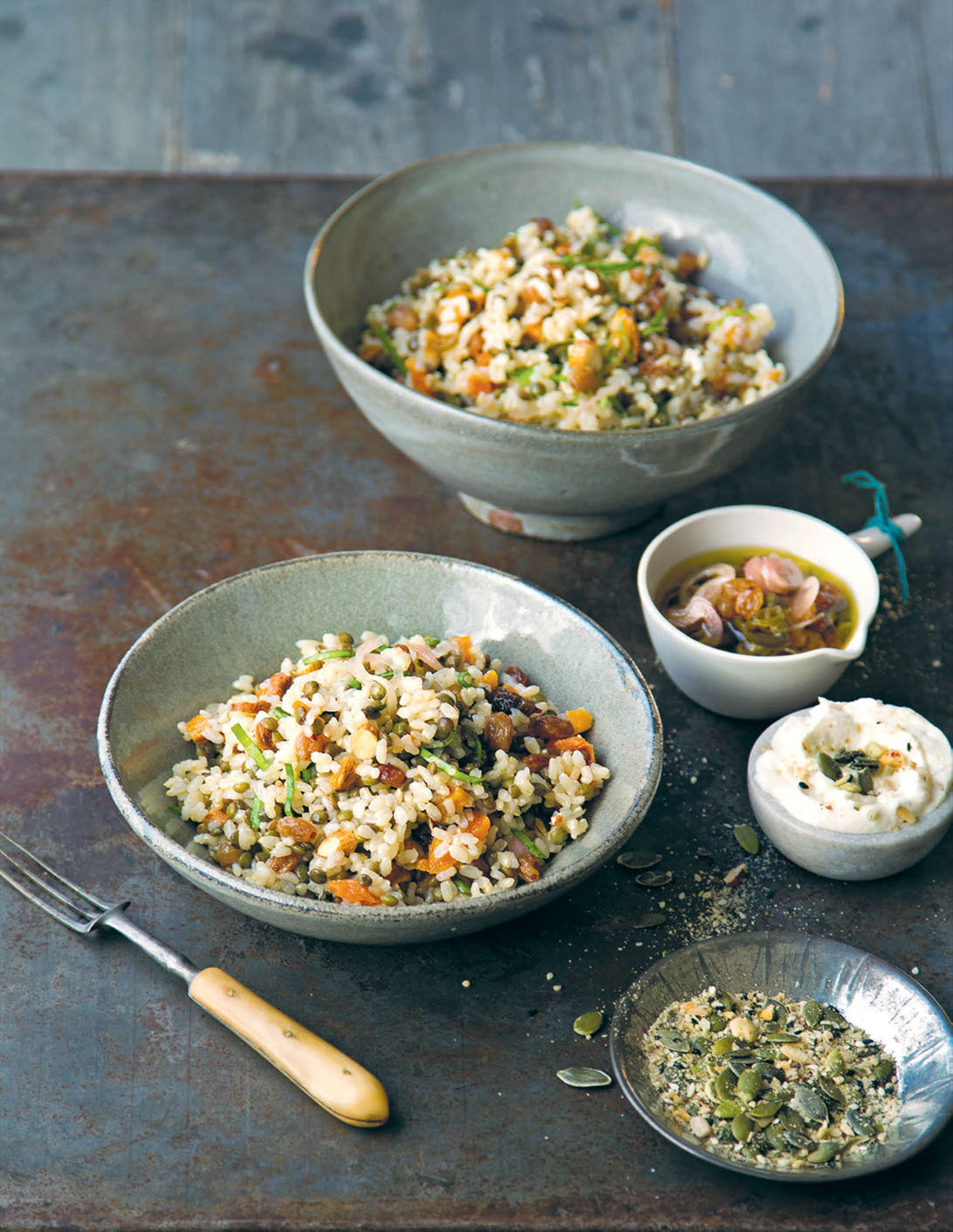 Brown rice and feta salad with hot 'n' sour dressing