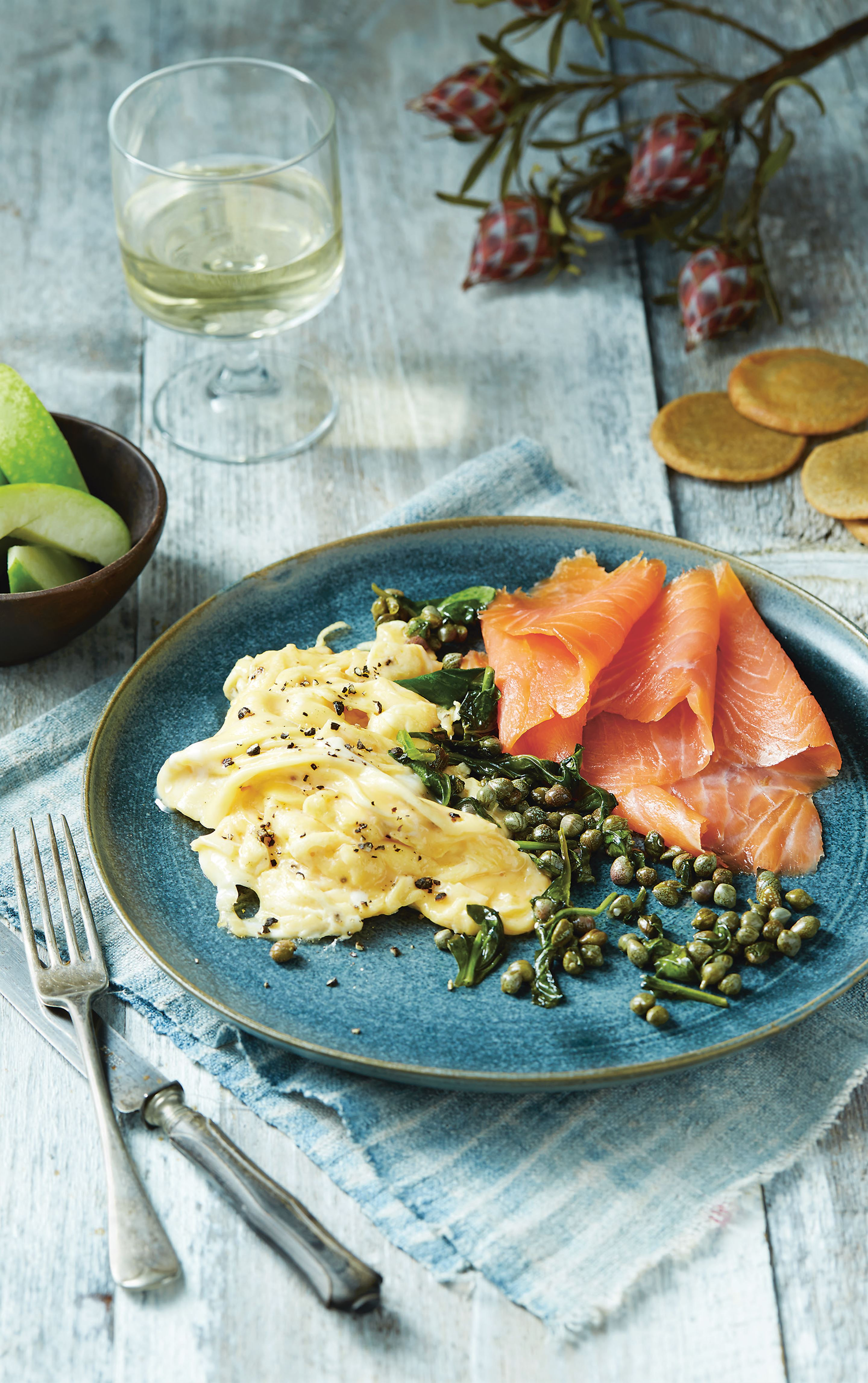 Smoked salmon and eggs with capers and quinoa crackers