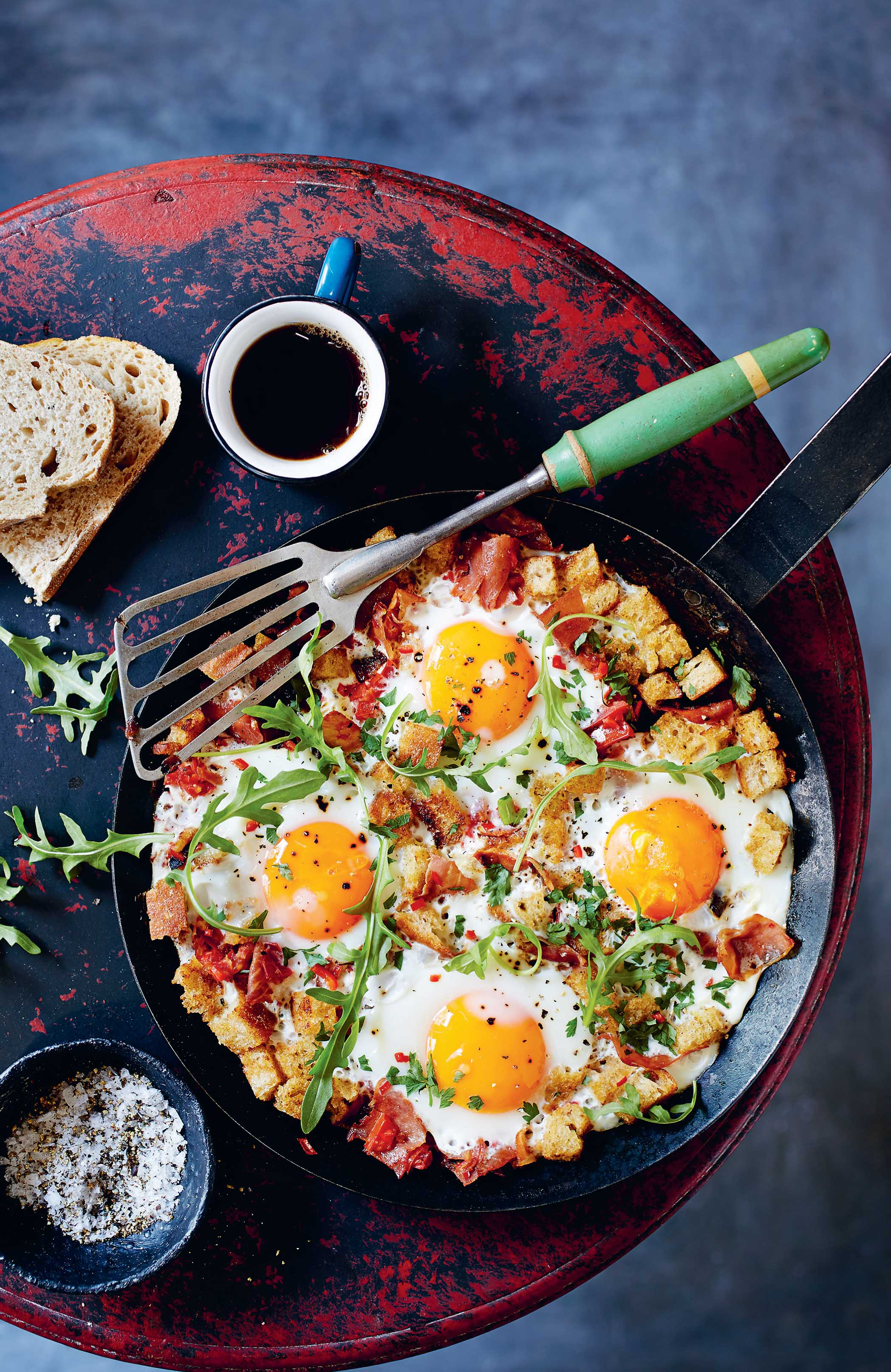 Prosciutto, chilli, eggs and rocket