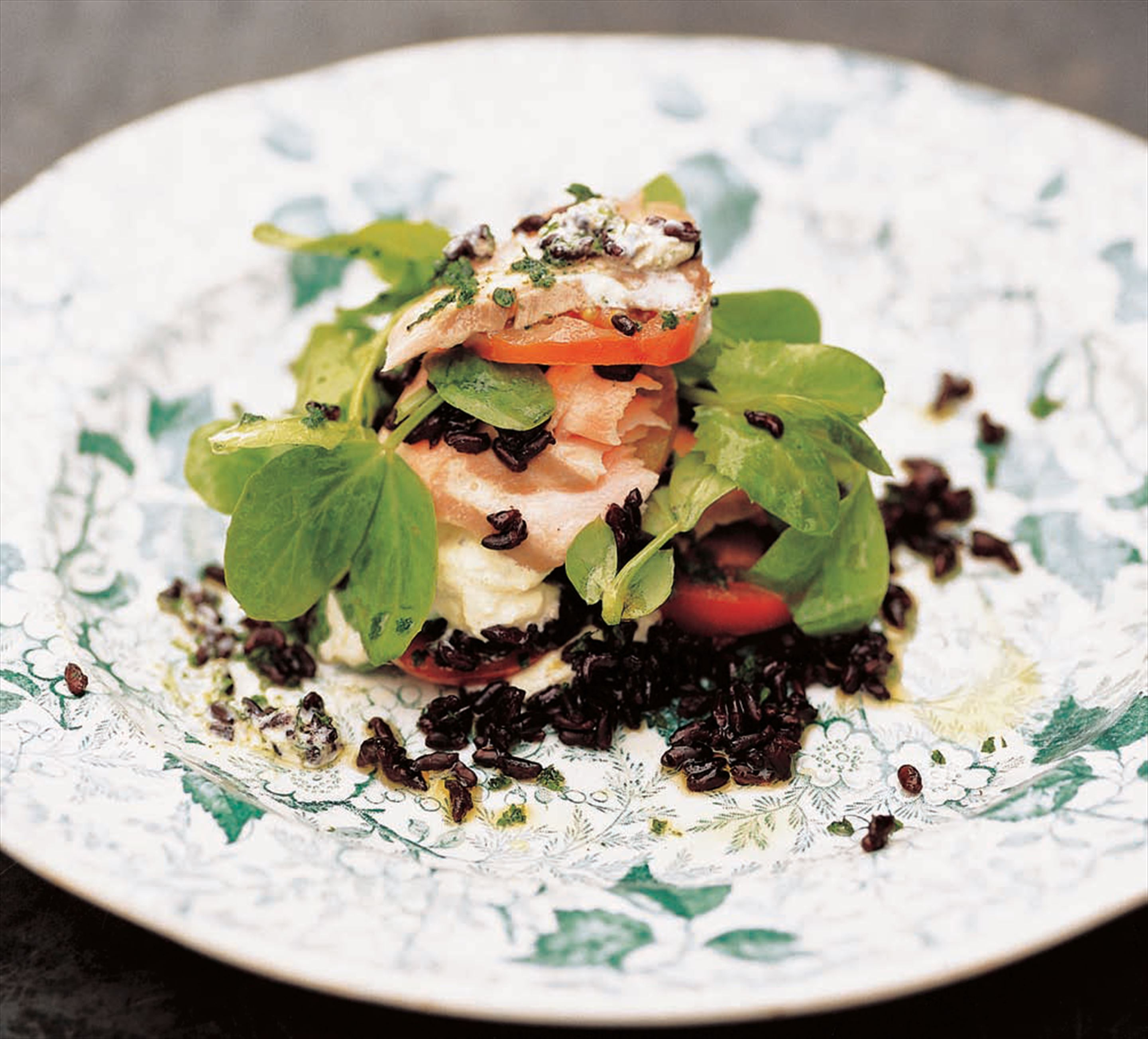 Salad of poached salmon, black rice and watercress