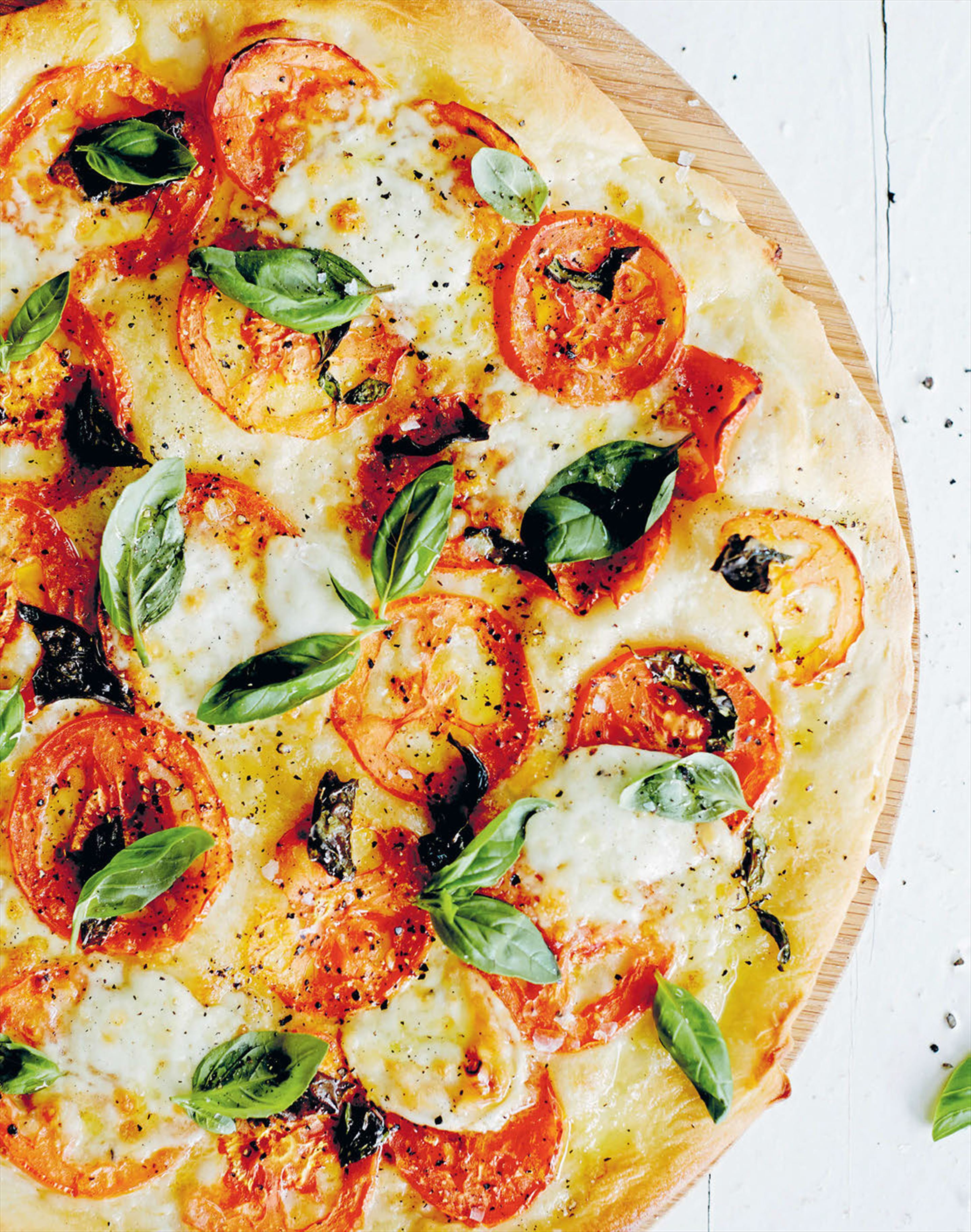 Tomato, buffalo mozzarella and basil pizza